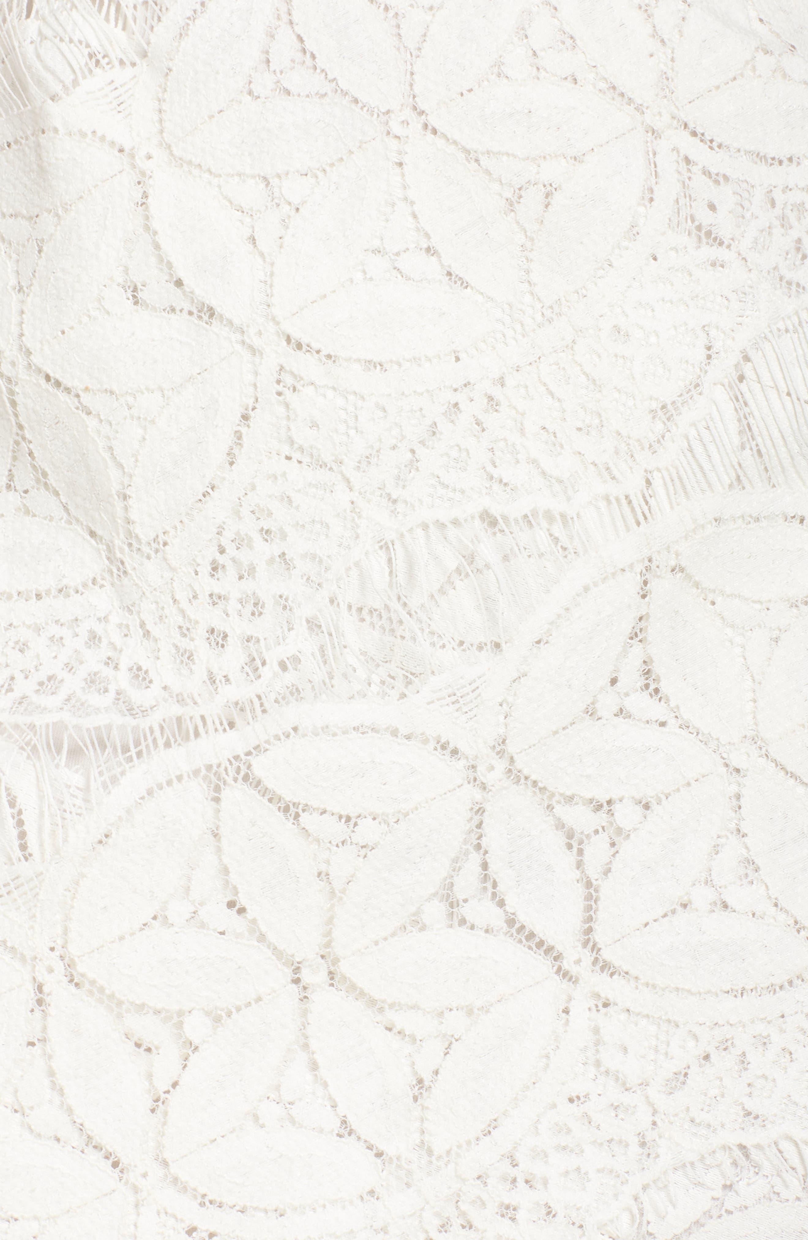 Lace High/Low Sheath Dress,                             Alternate thumbnail 6, color,                             100