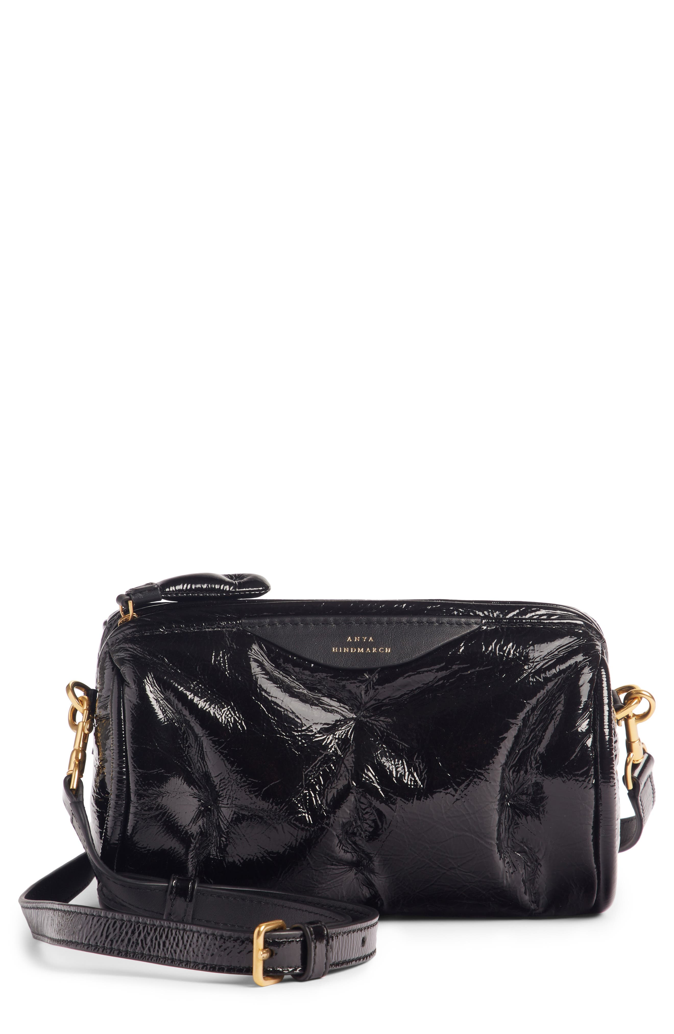 Chubby Barrel Patent Leather Satchel,                         Main,                         color, 001