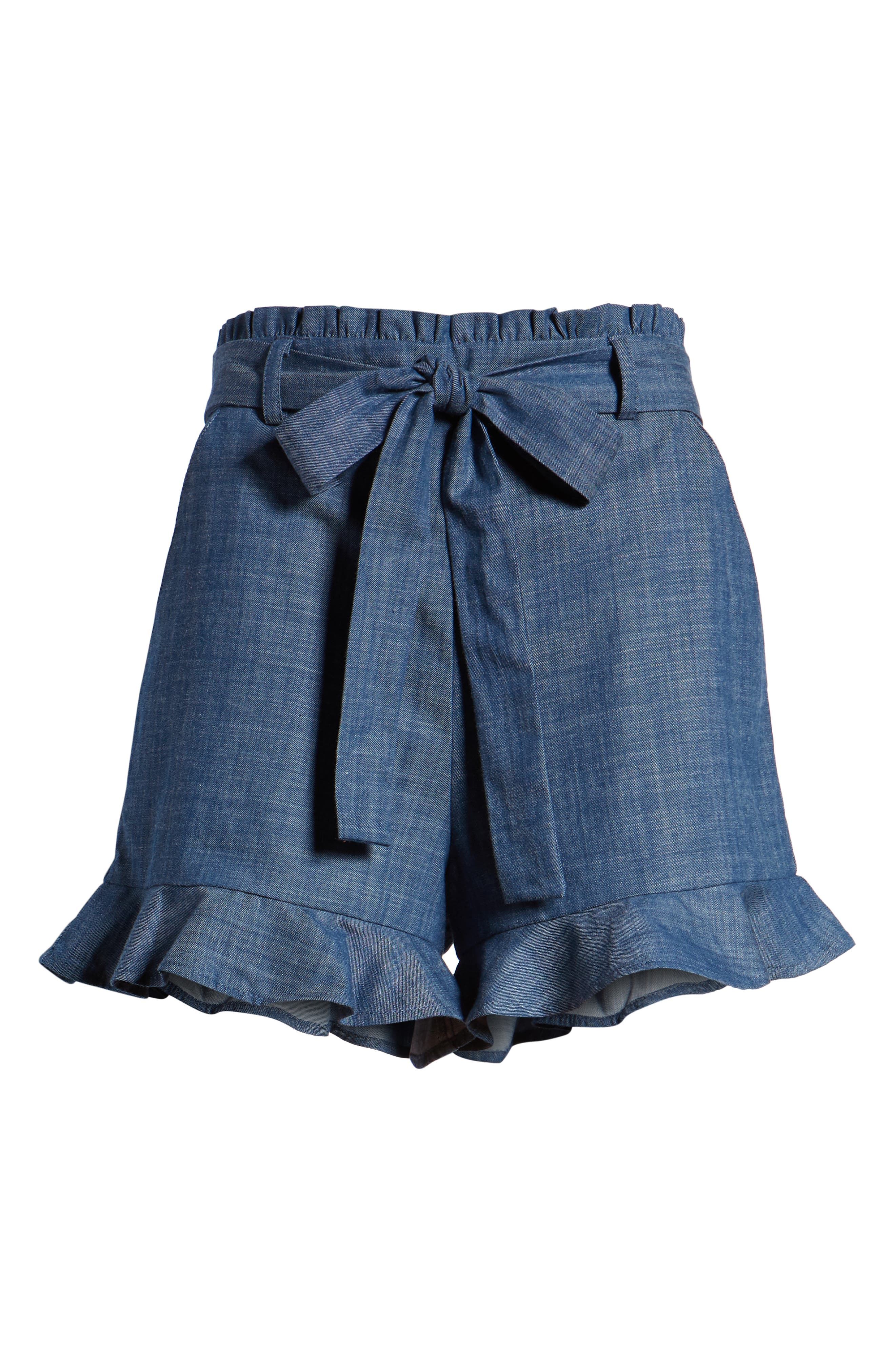 Tie Waist Chambray Shorts,                             Alternate thumbnail 7, color,                             450