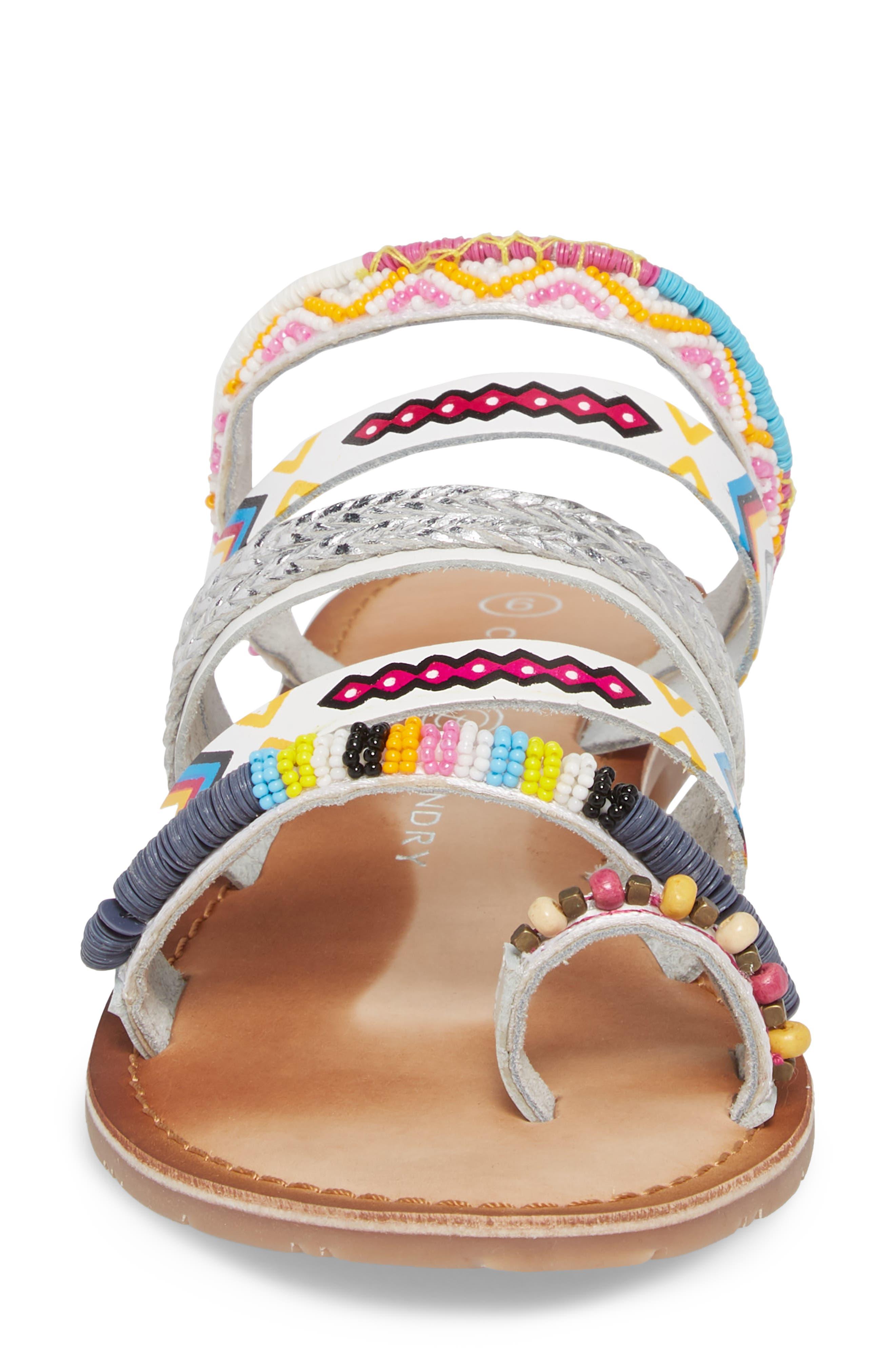 Pandora Embellished Slide Sandal,                             Alternate thumbnail 4, color,                             100