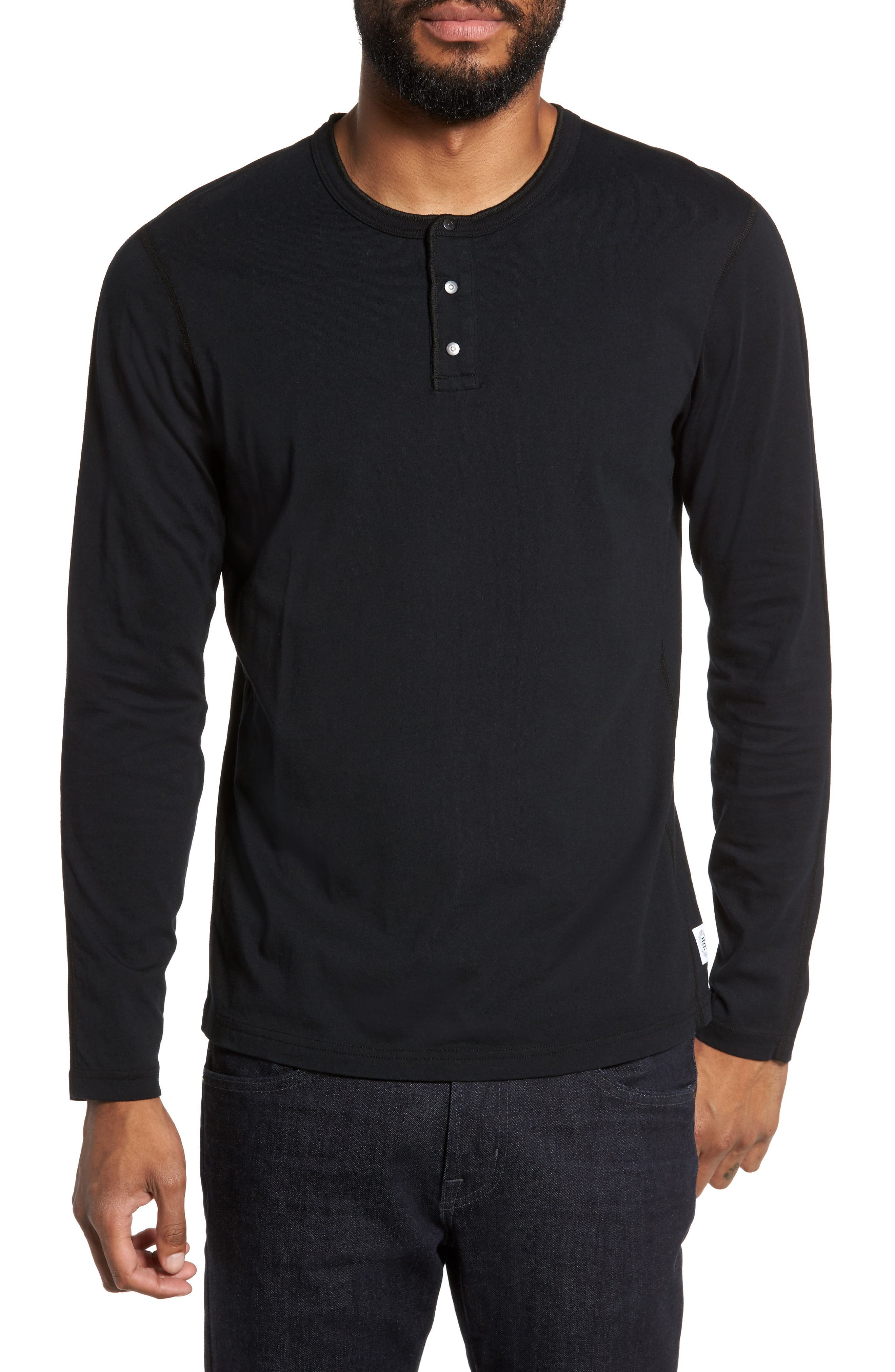 Long Sleeve Henley T-Shirt,                         Main,                         color, BLACK
