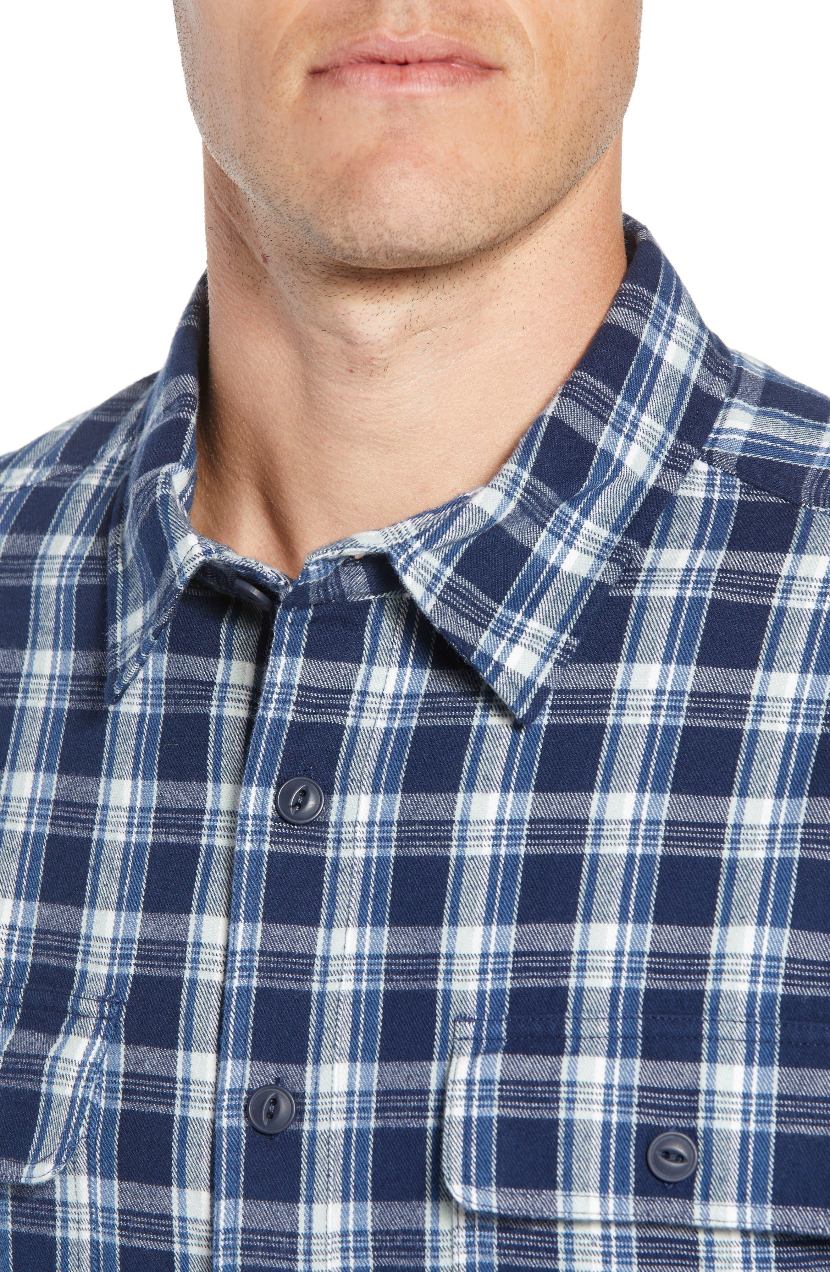 UGG<SUP>®</SUP>,                             Anders Flannel Sport Shirt,                             Alternate thumbnail 2, color,                             DARK DENIM PLAID