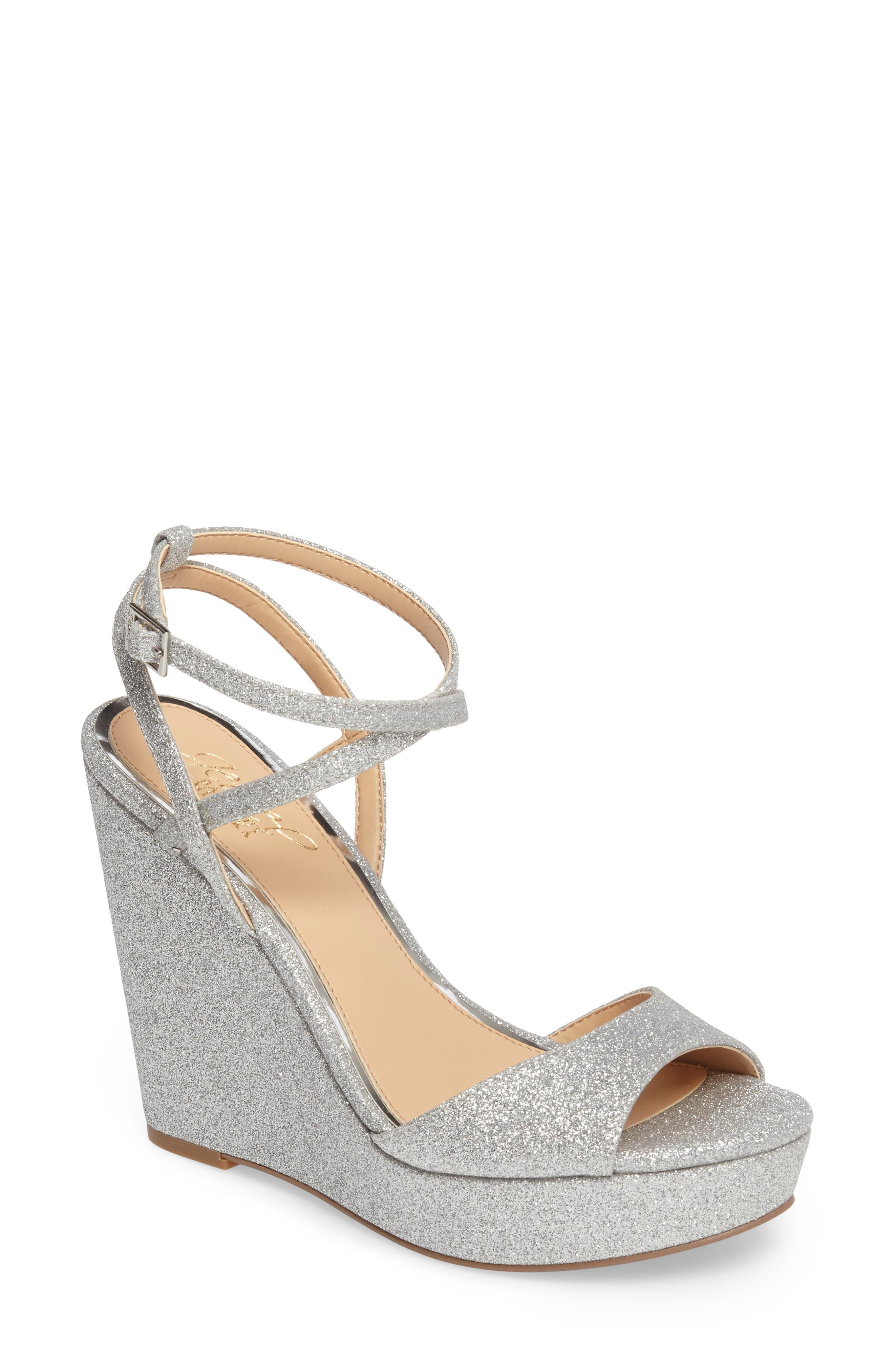 Jewel Badgley Mischka Ambrosia Wedge Sandal- Metallic