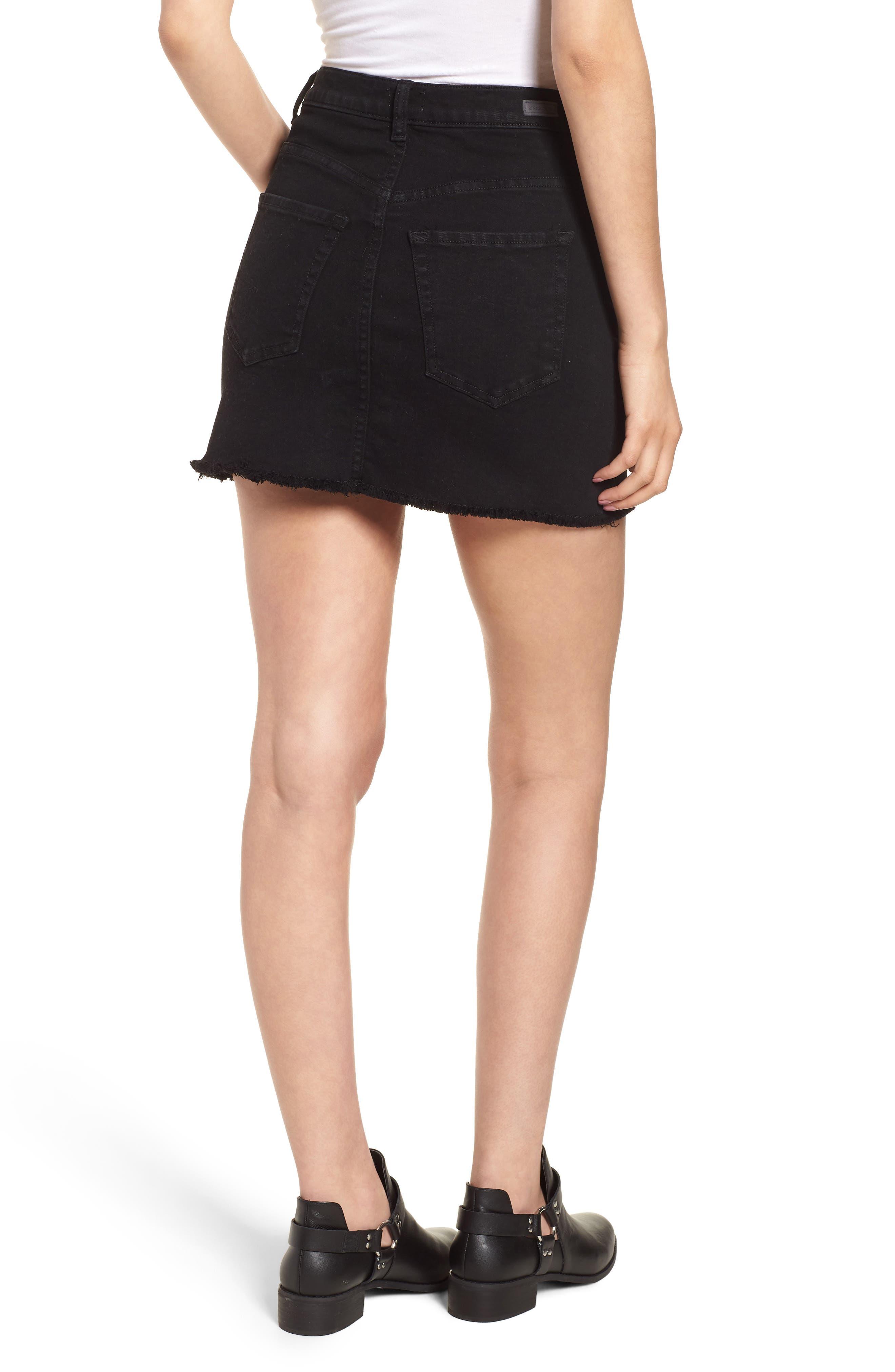 Stretch Denim Miniskirt,                             Alternate thumbnail 2, color,                             001