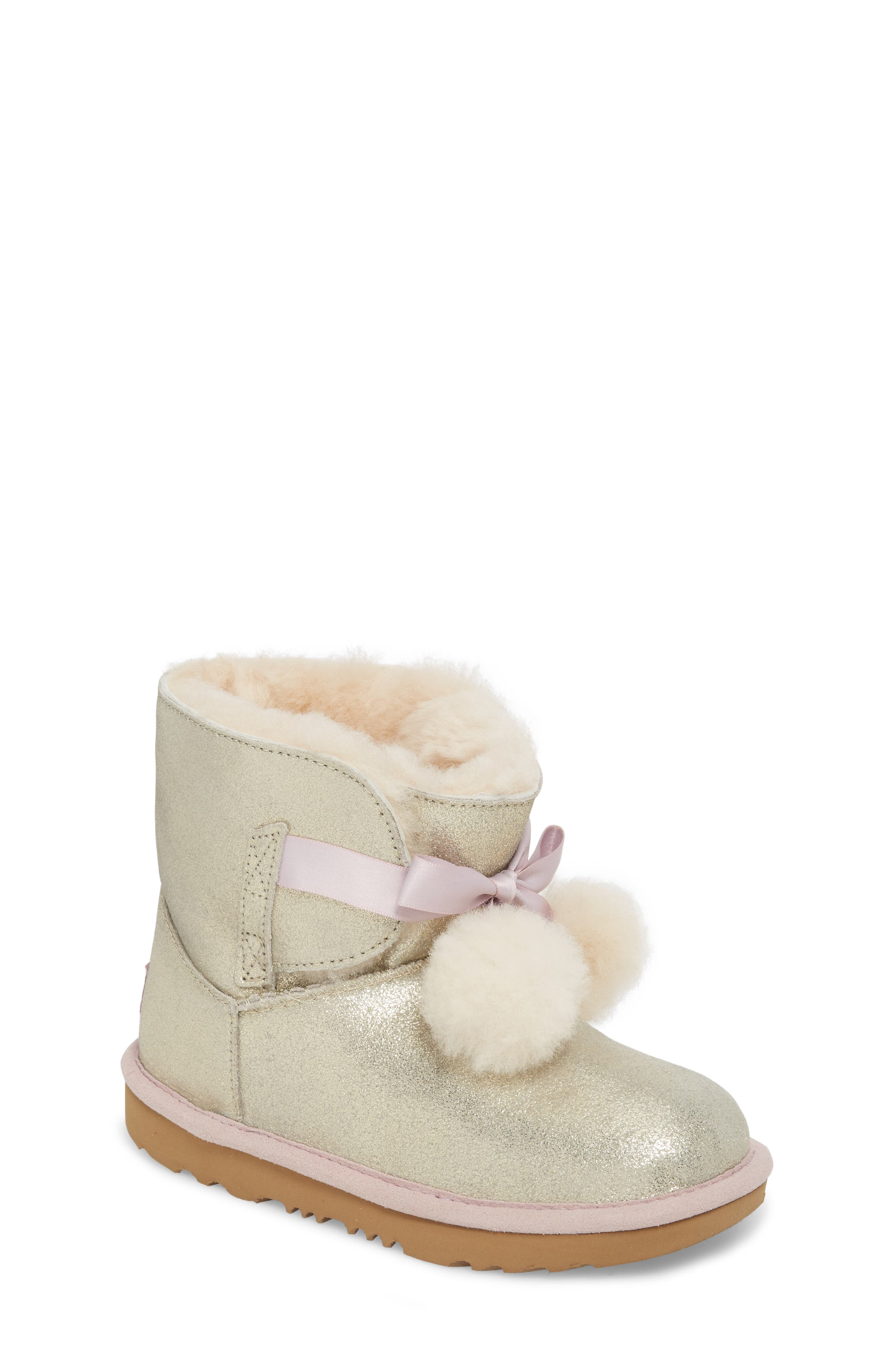 Gita Metallic Genuine Shearling Pom Boot,                         Main,                         color, GOLD