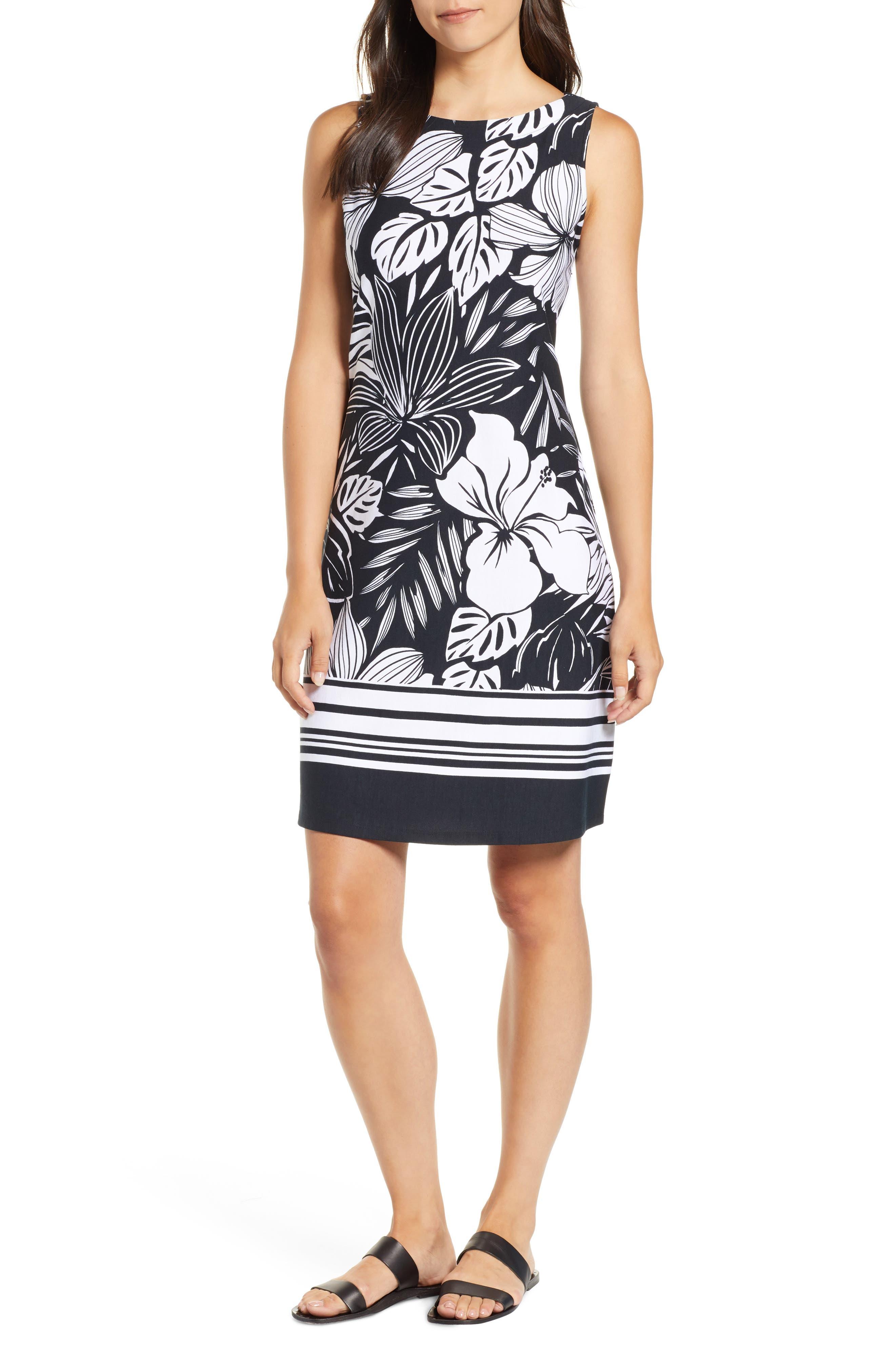 TOMMY BAHAMA,                             Mahana Beach Sheath Dress,                             Main thumbnail 1, color,                             BLACK