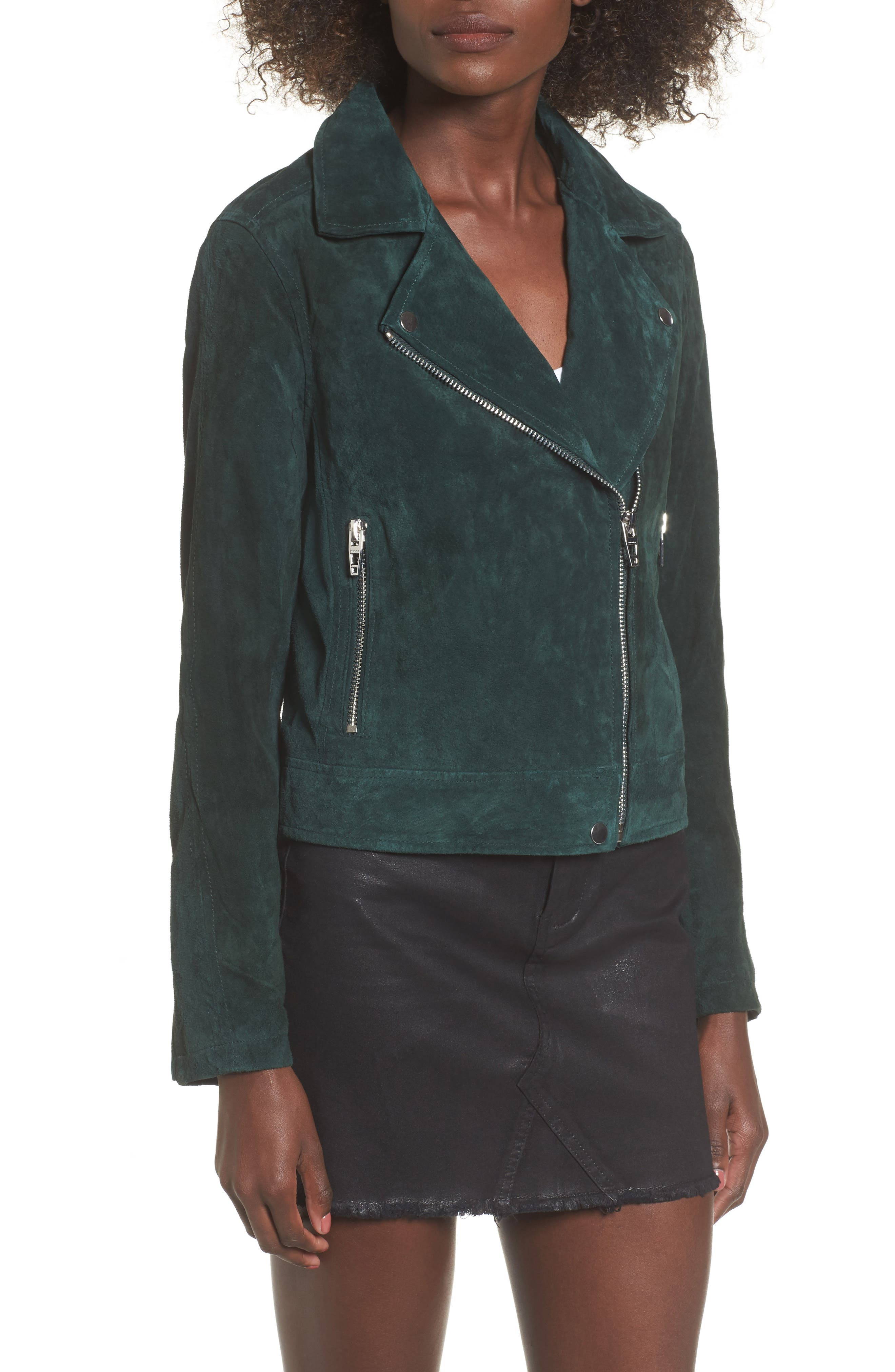 BLANKNYC,                             Suede Moto Jacket,                             Alternate thumbnail 4, color,                             EVERGREEN