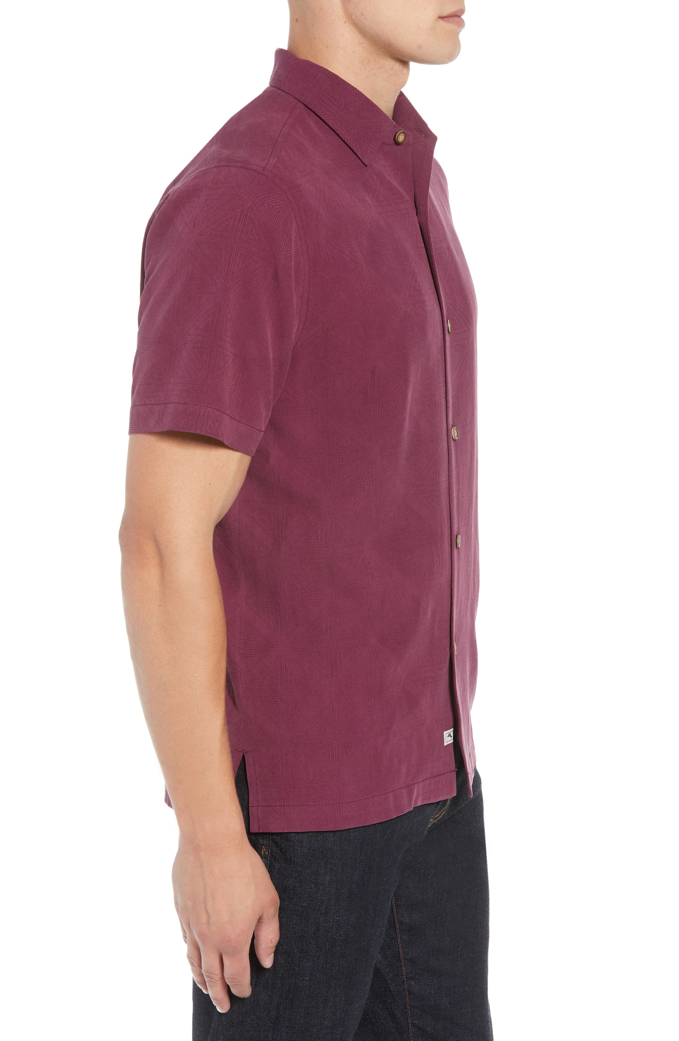 Pura Vino Embroidered Silk Sport Shirt,                             Alternate thumbnail 3, color,                             GRAPE WINE