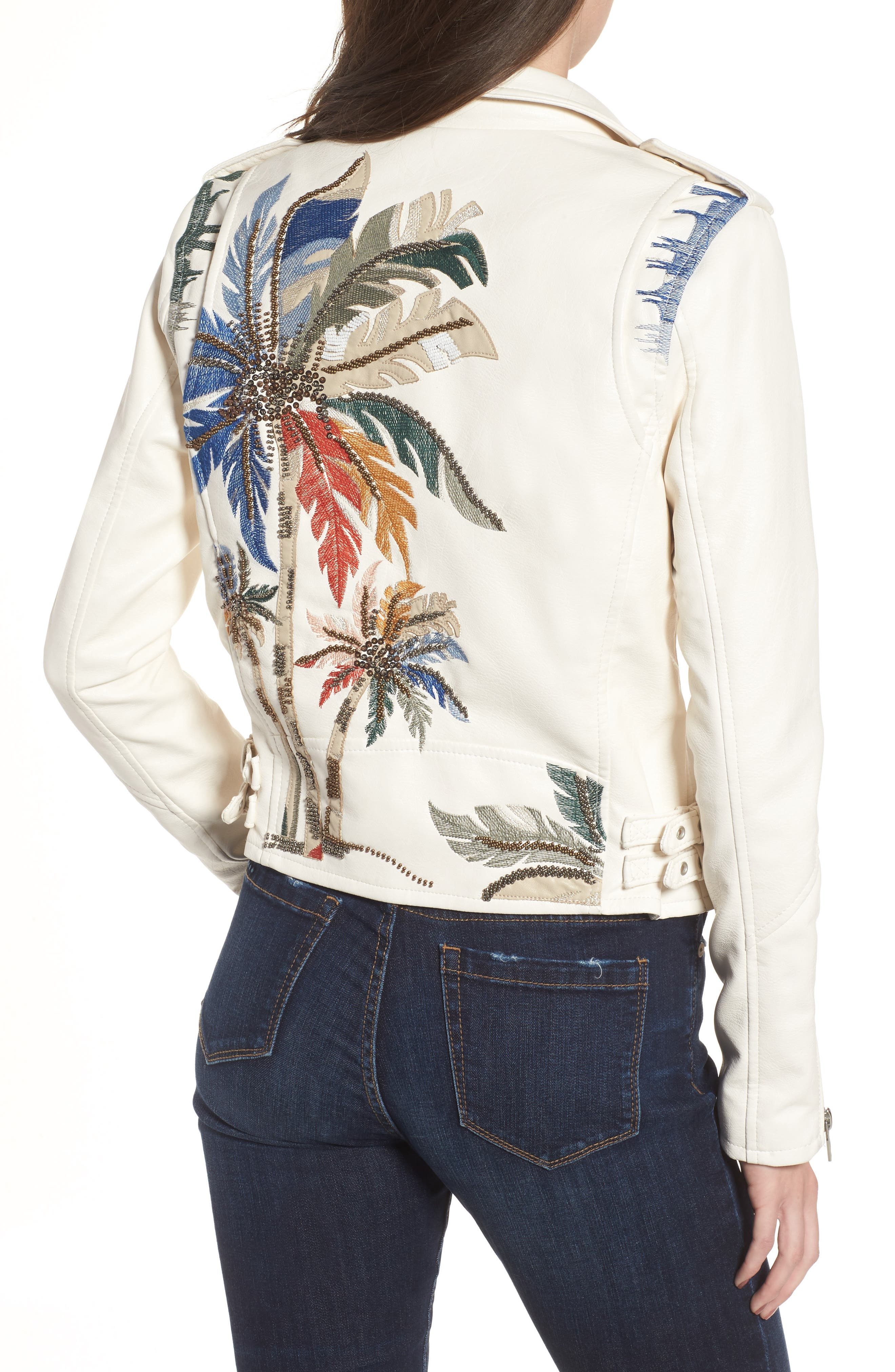 Embroidered Faux Leather Moto Jacket,                             Alternate thumbnail 2, color,                             900