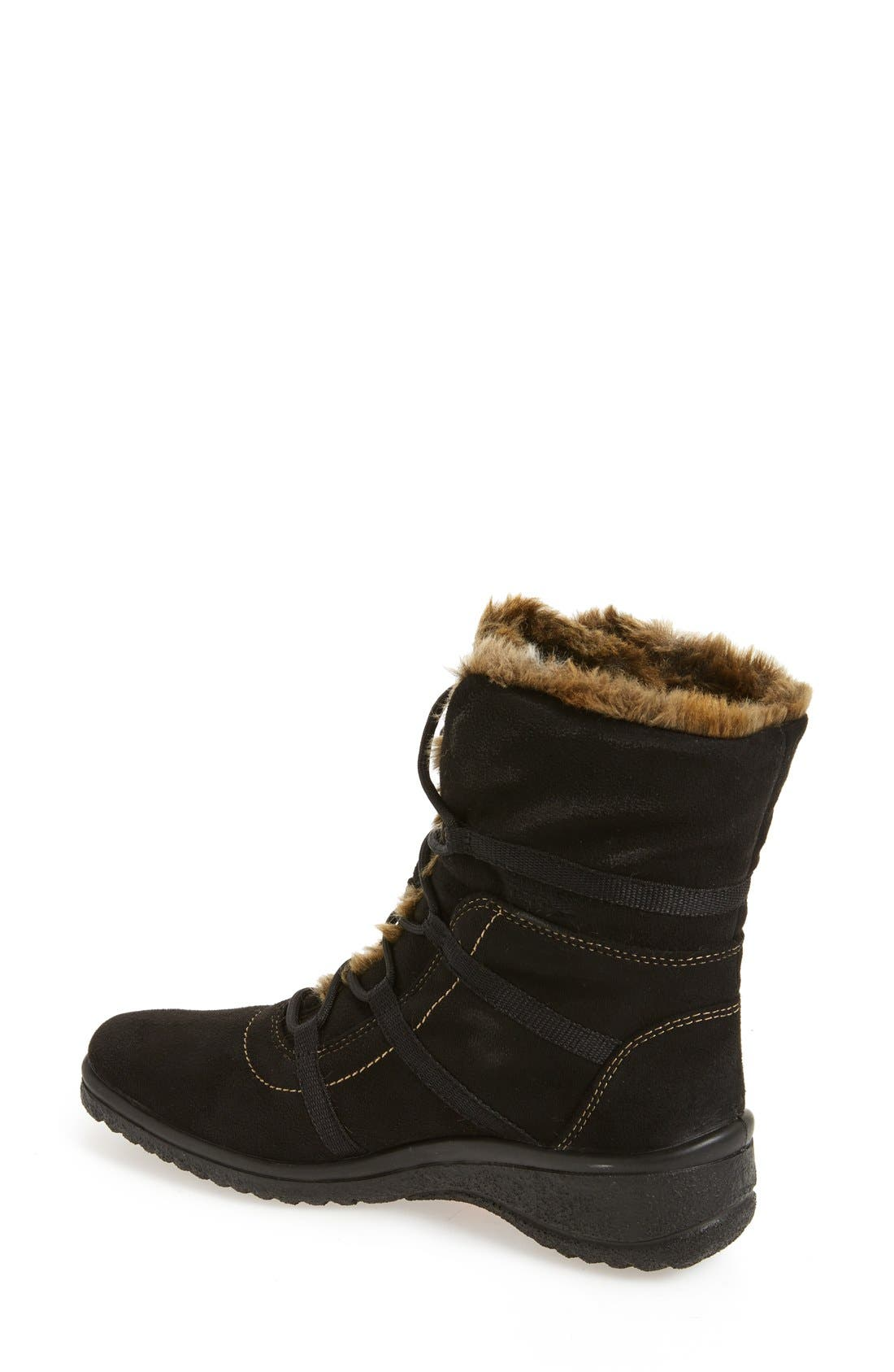 'Magaly' Waterproof Gore-Tex<sup>®</sup> Faux Fur Boot,                             Alternate thumbnail 4, color,                             BLACK FABRIC