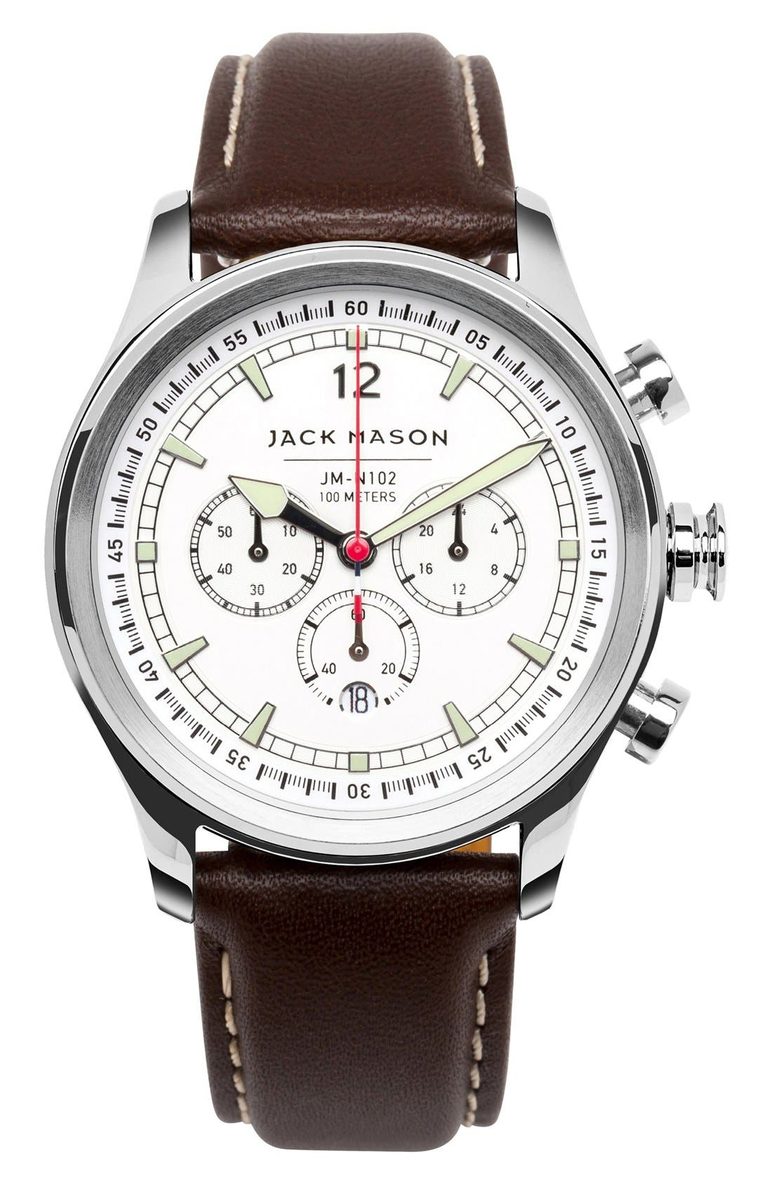 Nautical Chronograph Leather Strap Watch, 42mm,                             Main thumbnail 1, color,                             WHITE/ DARK BROWN