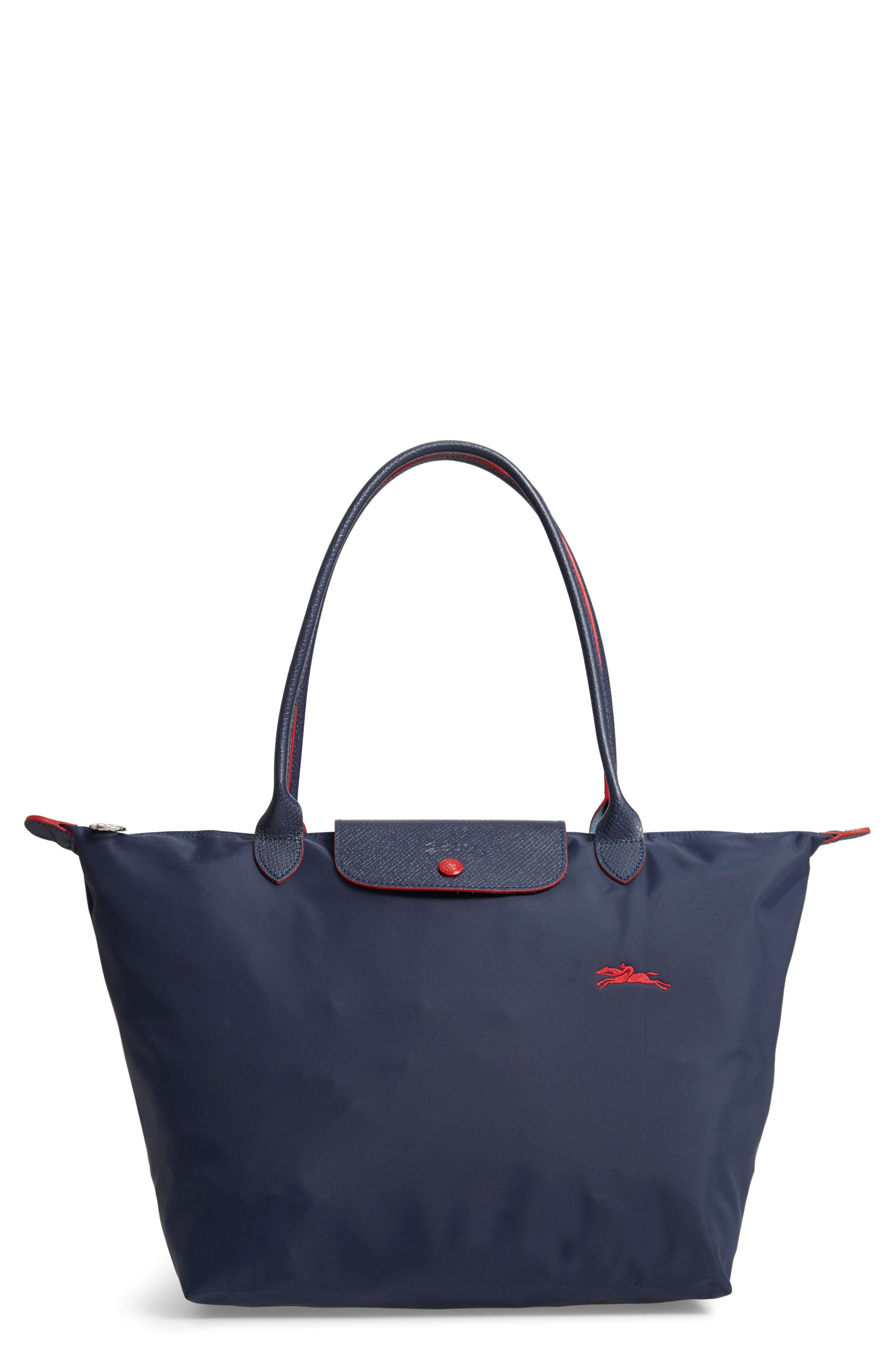 Le Pliage Club Large Nylon Shoulder Tote Bag in Navy