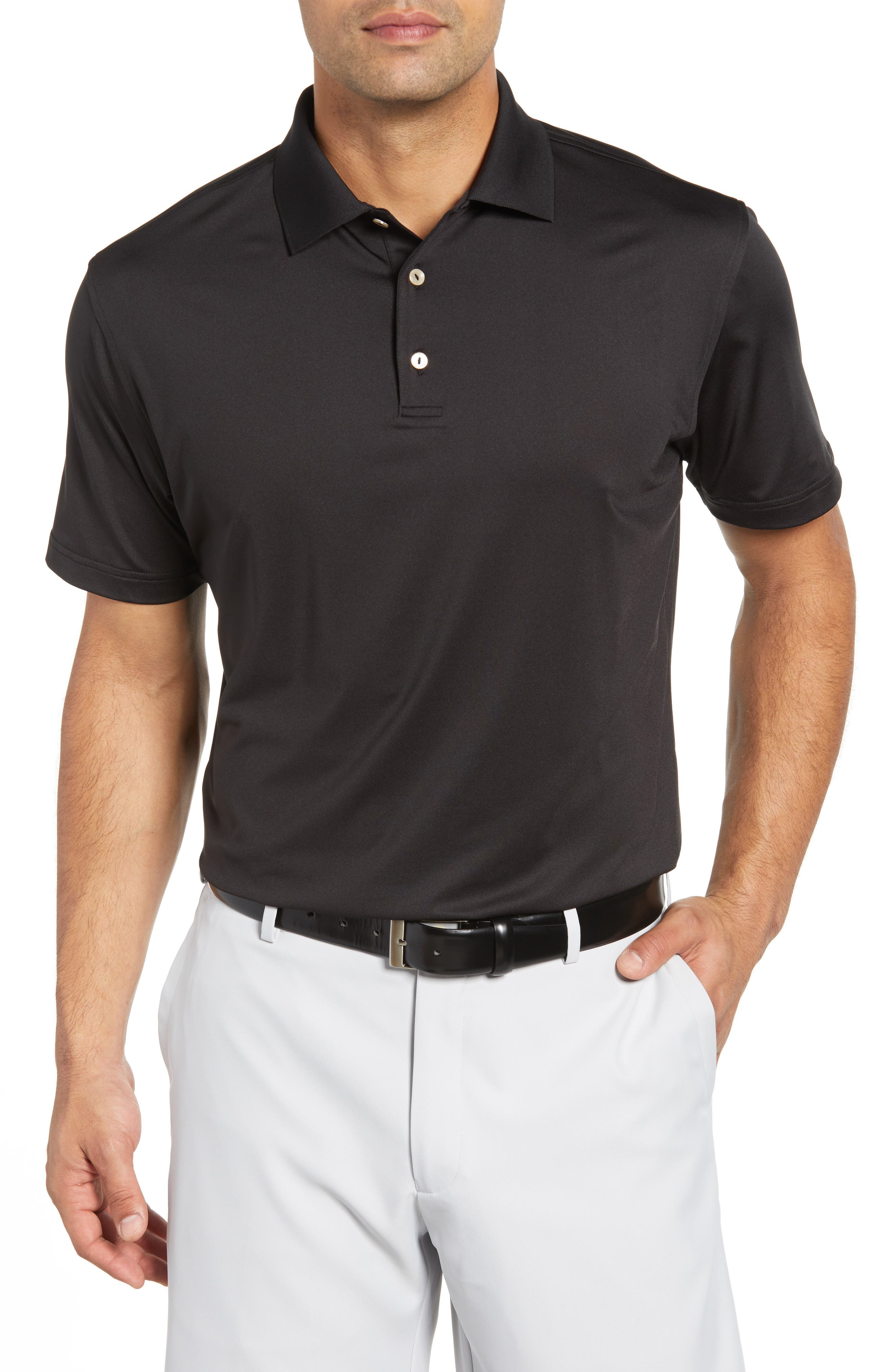 Stretch Jersey Performance Polo,                             Main thumbnail 1, color,                             BLACK