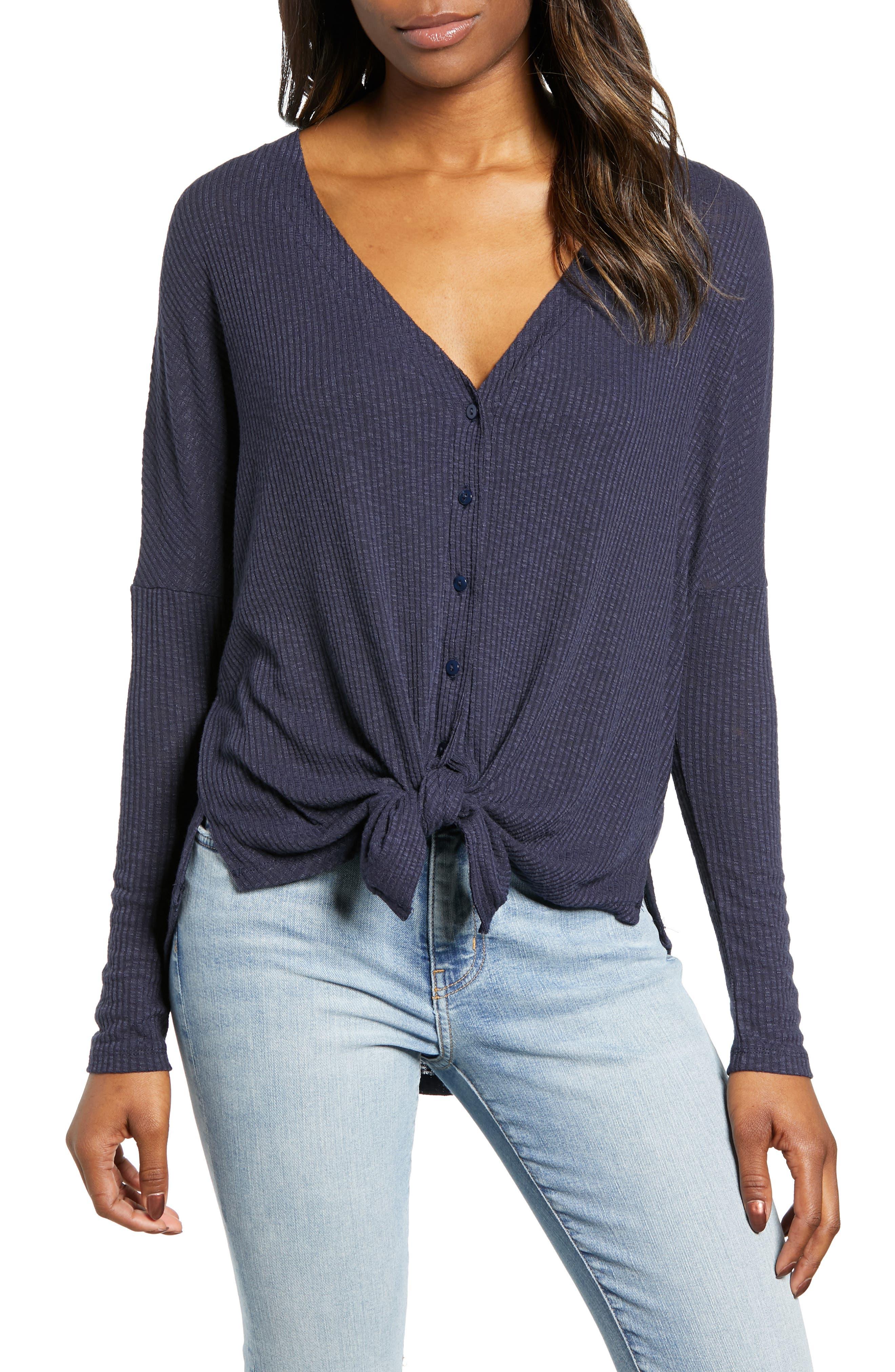 Button Front Ribbed Knit Top,                             Main thumbnail 1, color,                             NAVY PEACOAT