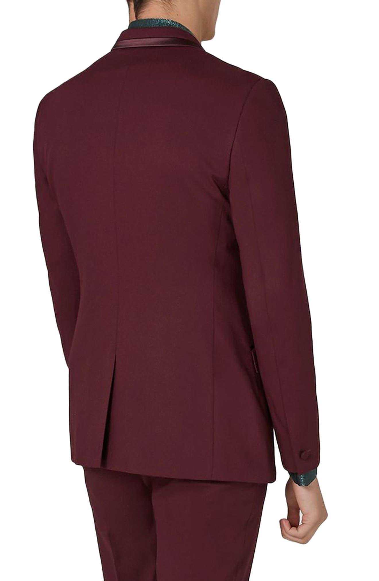 Skinny Fit Burgundy Tuxedo Jacket,                             Alternate thumbnail 2, color,