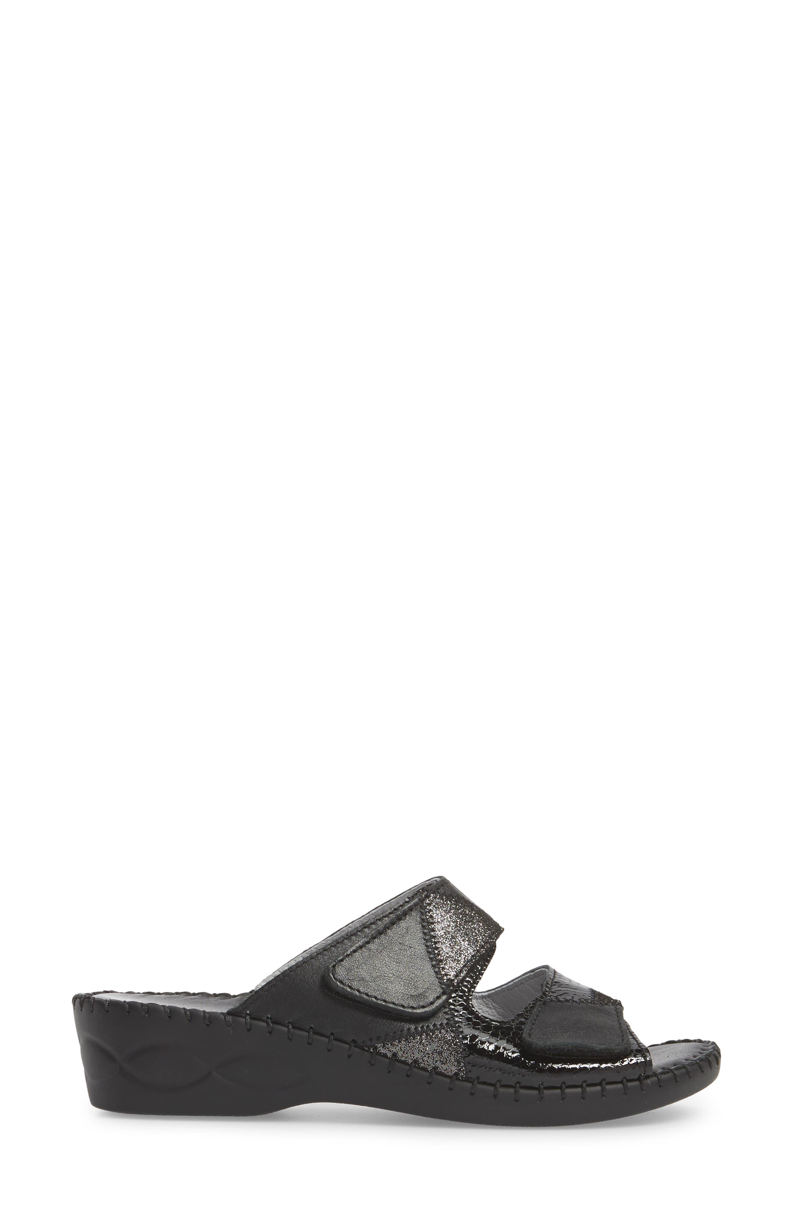 DAVID TATE,                             Flex Slide Sandal,                             Alternate thumbnail 3, color,                             BLACK LEATHER