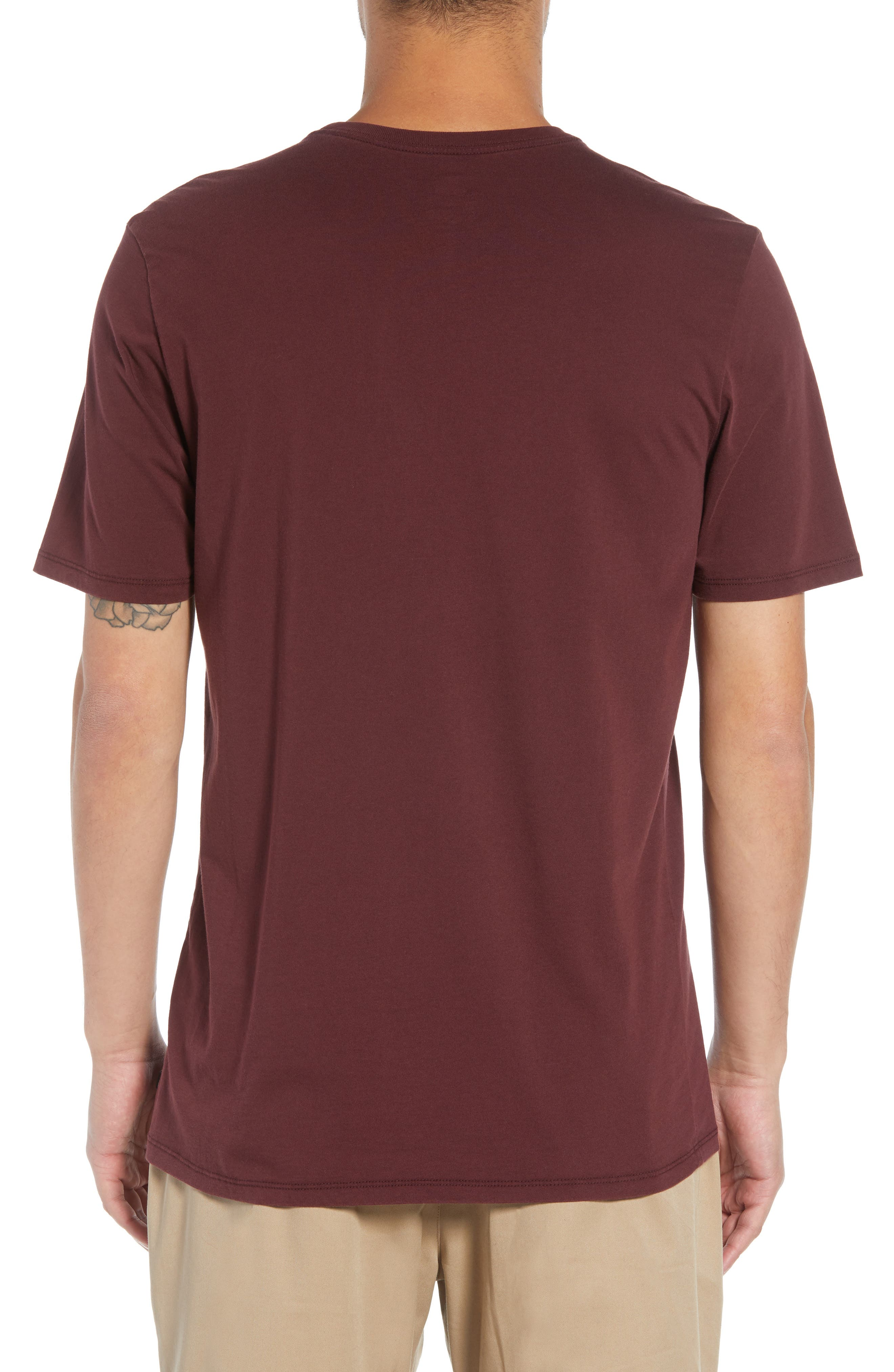 Crewneck T-Shirt,                             Alternate thumbnail 2, color,                             BURGUNDY CRUSH/ HABANERO RED