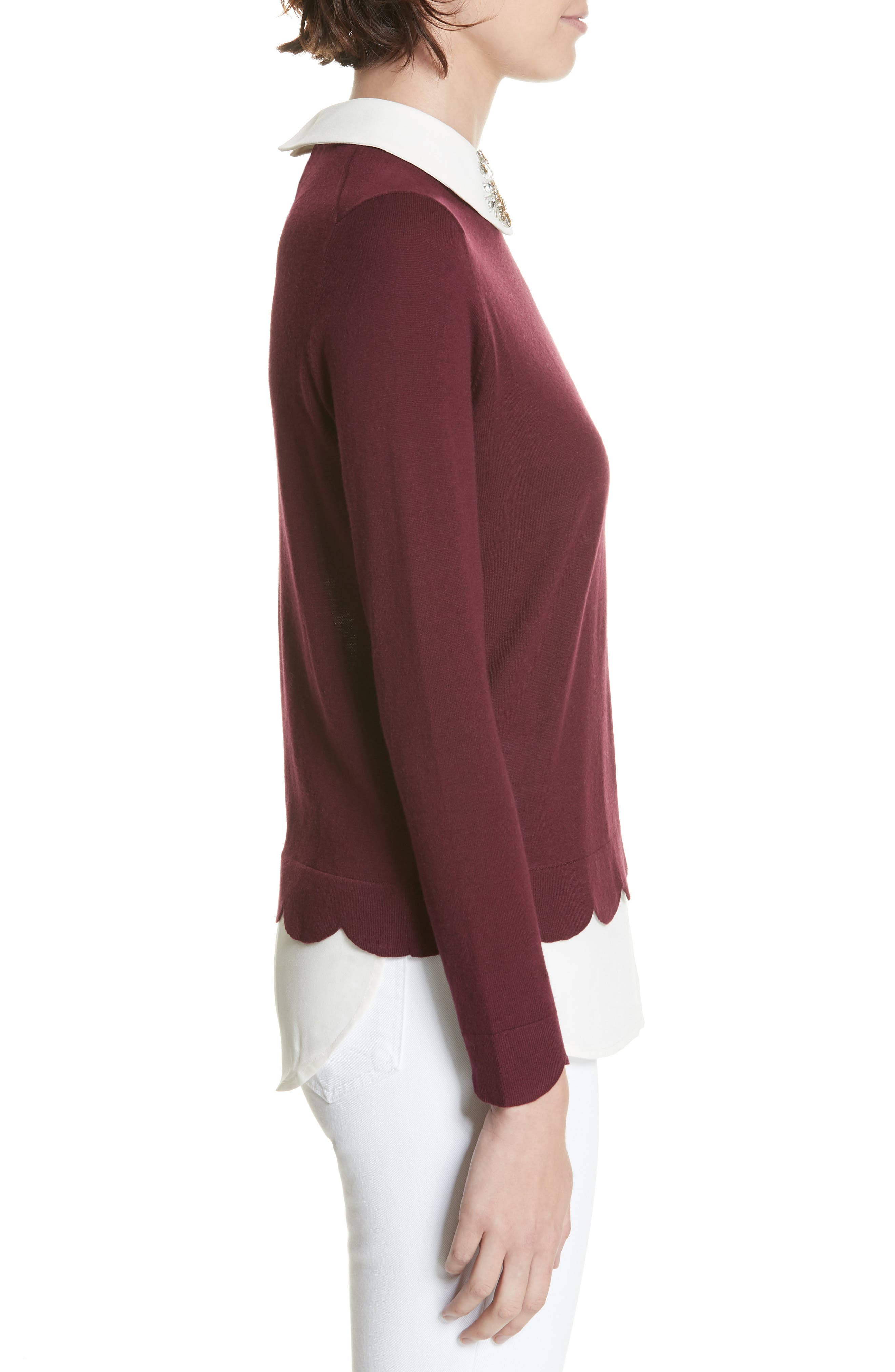 Suzaine Layered Sweater,                             Alternate thumbnail 3, color,                             MAROON
