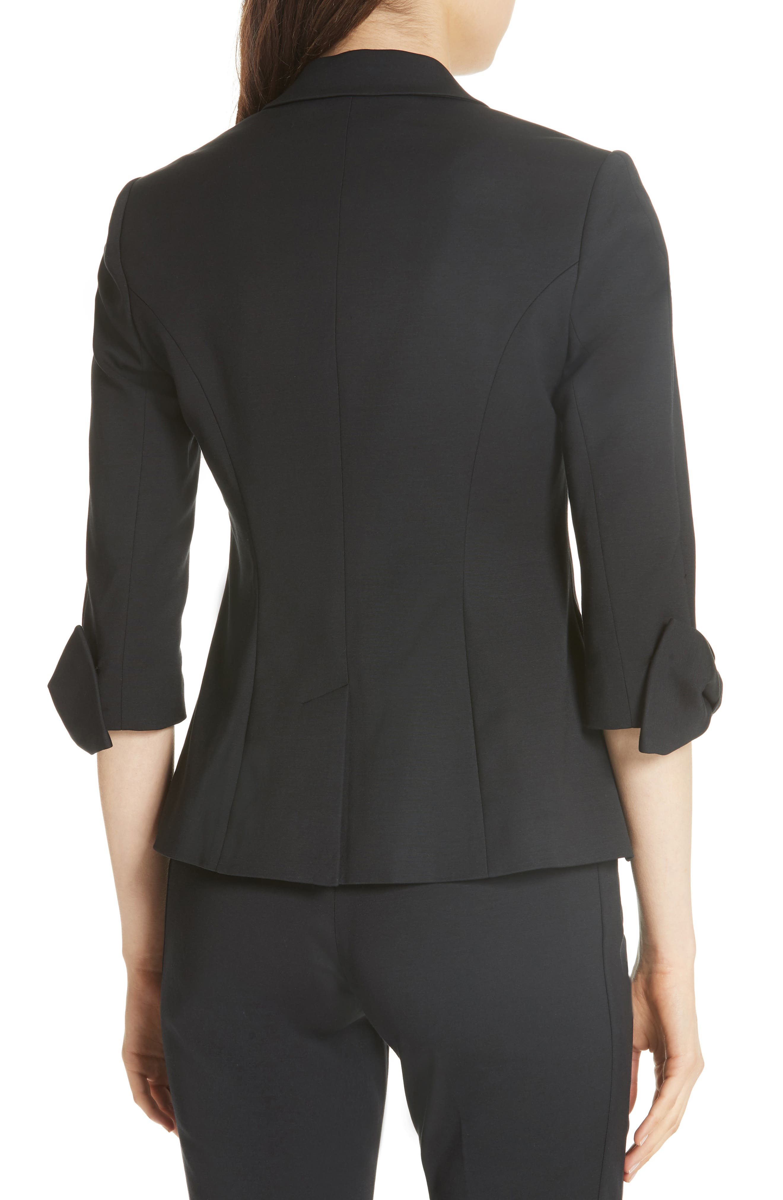 Toply Bow Cuff Jacket,                             Alternate thumbnail 2, color,                             BLACK