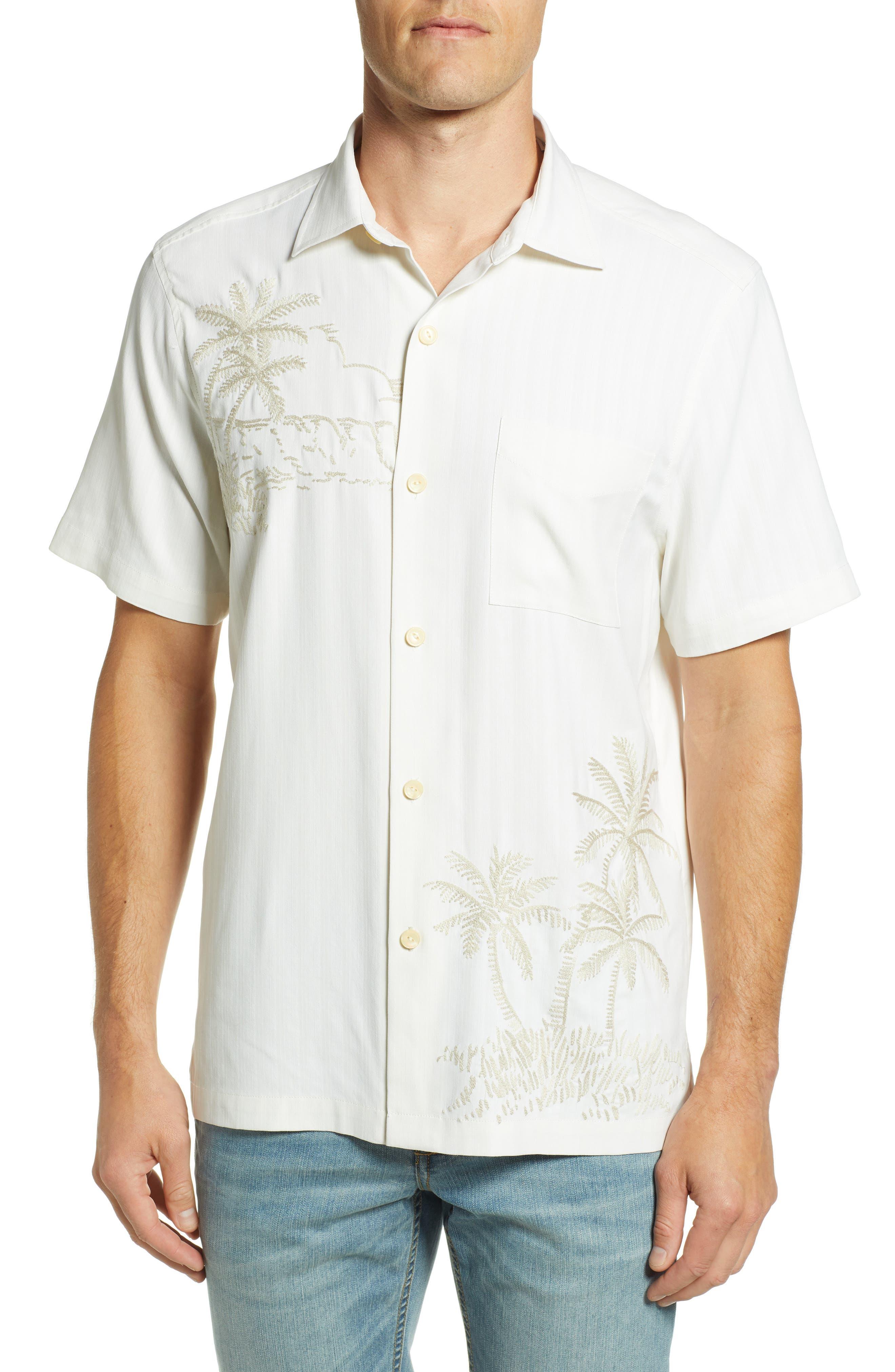 Las Playas Palms Silk Camp Shirt,                             Main thumbnail 1, color,                             TWILL
