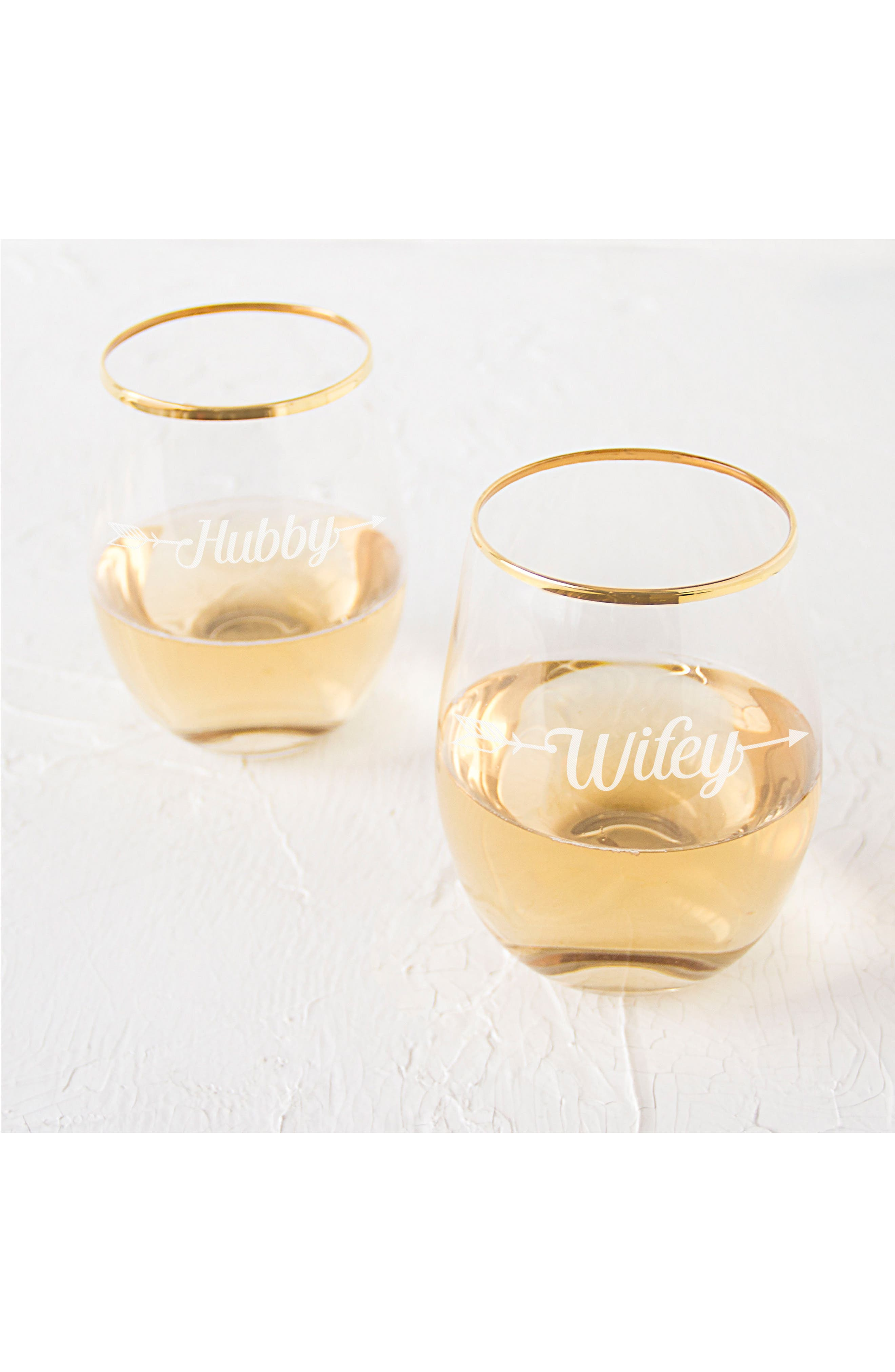 Hubby/Wifey Set of 2 Gold Rimmed Stemless Wine Glasses,                             Alternate thumbnail 3, color,                             710