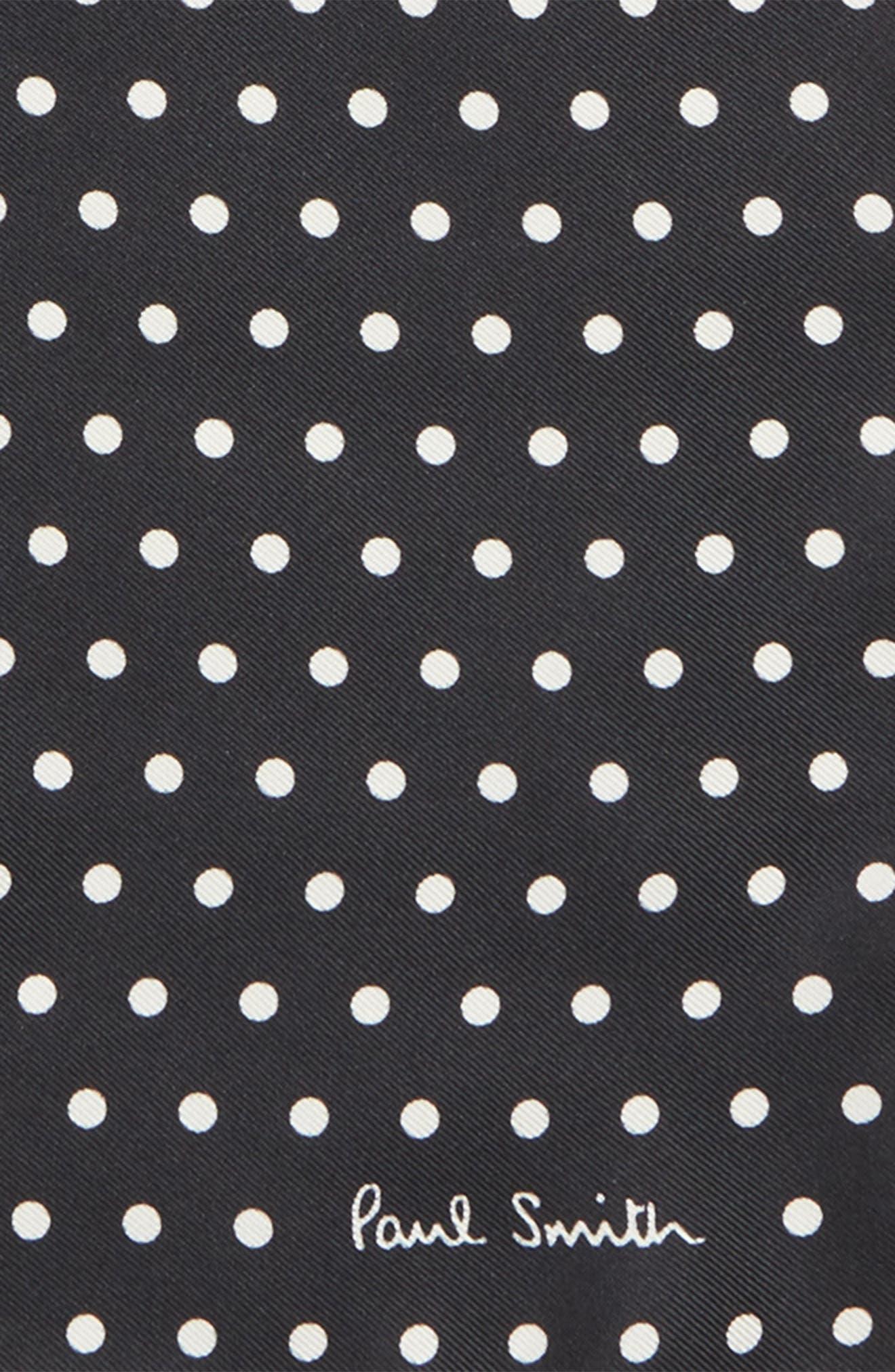Polka Dot Silk Pocket Square,                             Alternate thumbnail 3, color,                             001
