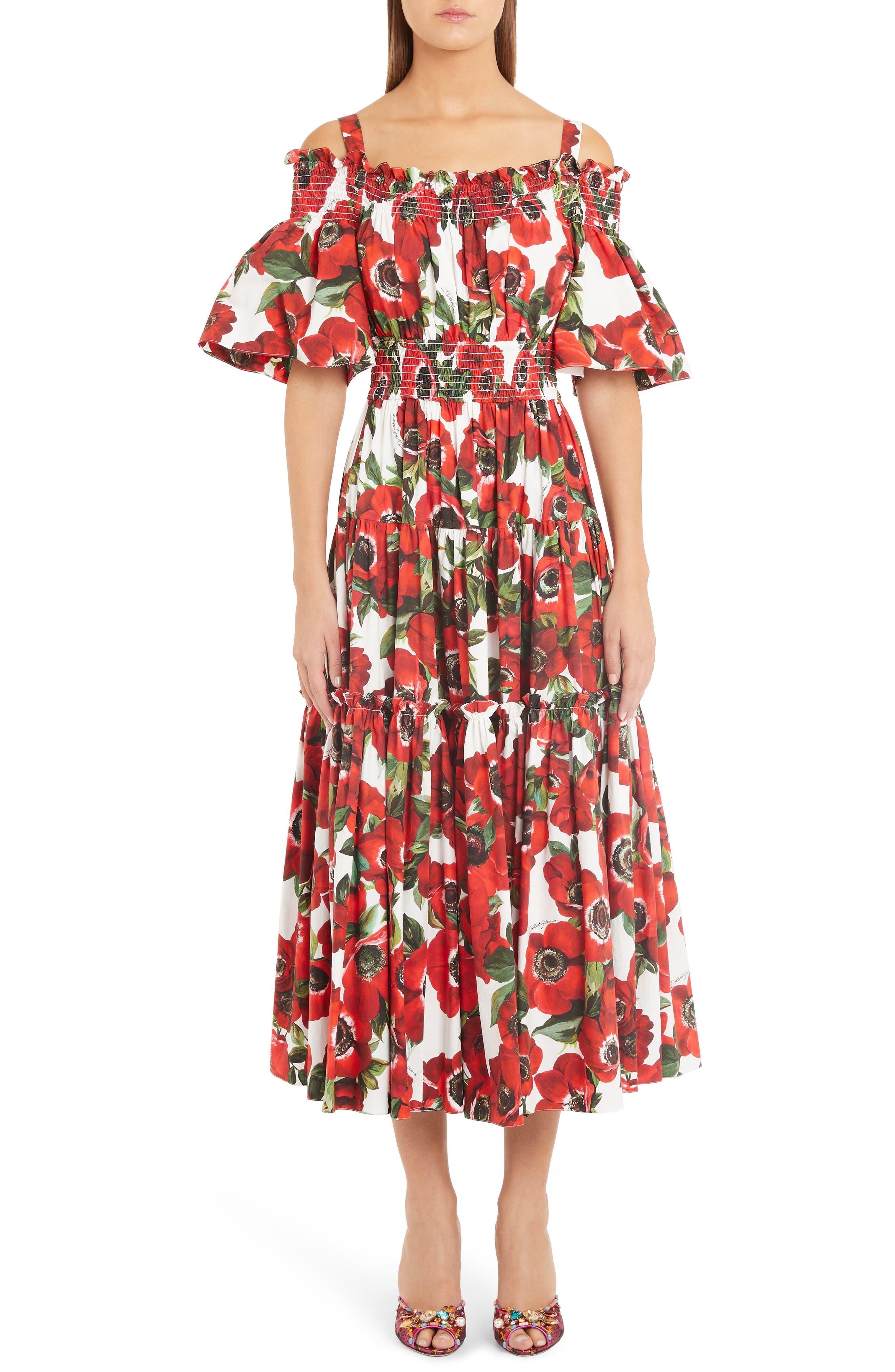 Dolce & gabbana Poppy Print Tiered Cotton Poplin A-Line Dress, US / 44 IT - Red