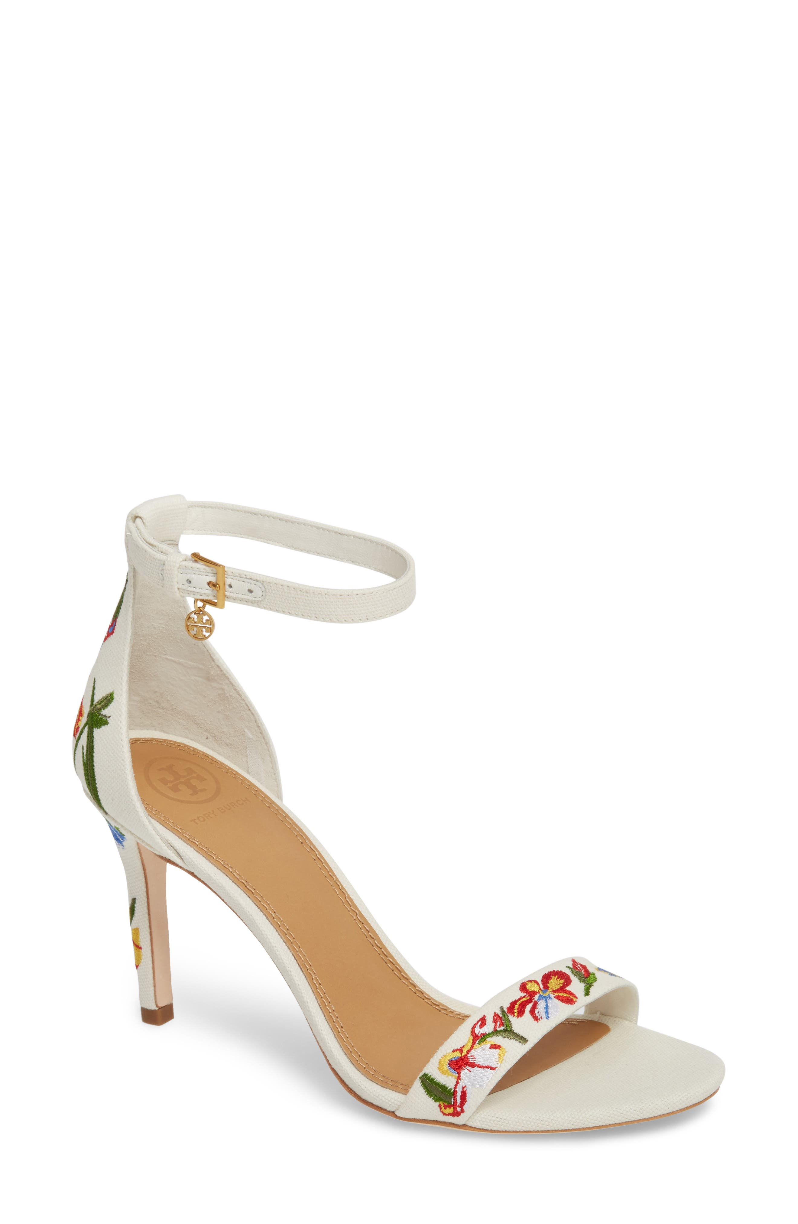 Ellie Embroidered Ankle Strap Sandal,                             Main thumbnail 1, color,