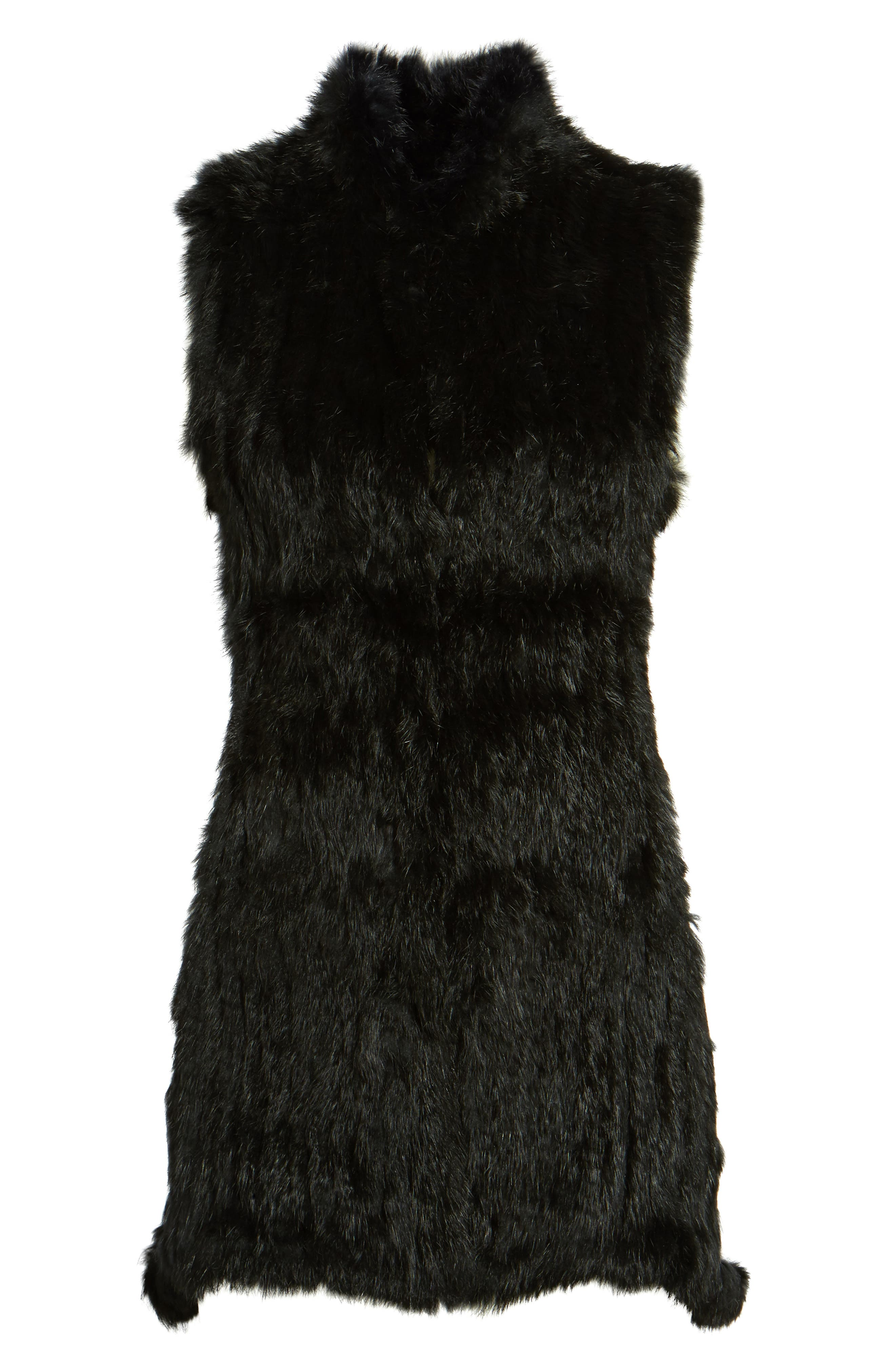 Genuine Rabbit Fur & Knit Vest,                             Alternate thumbnail 5, color,                             001