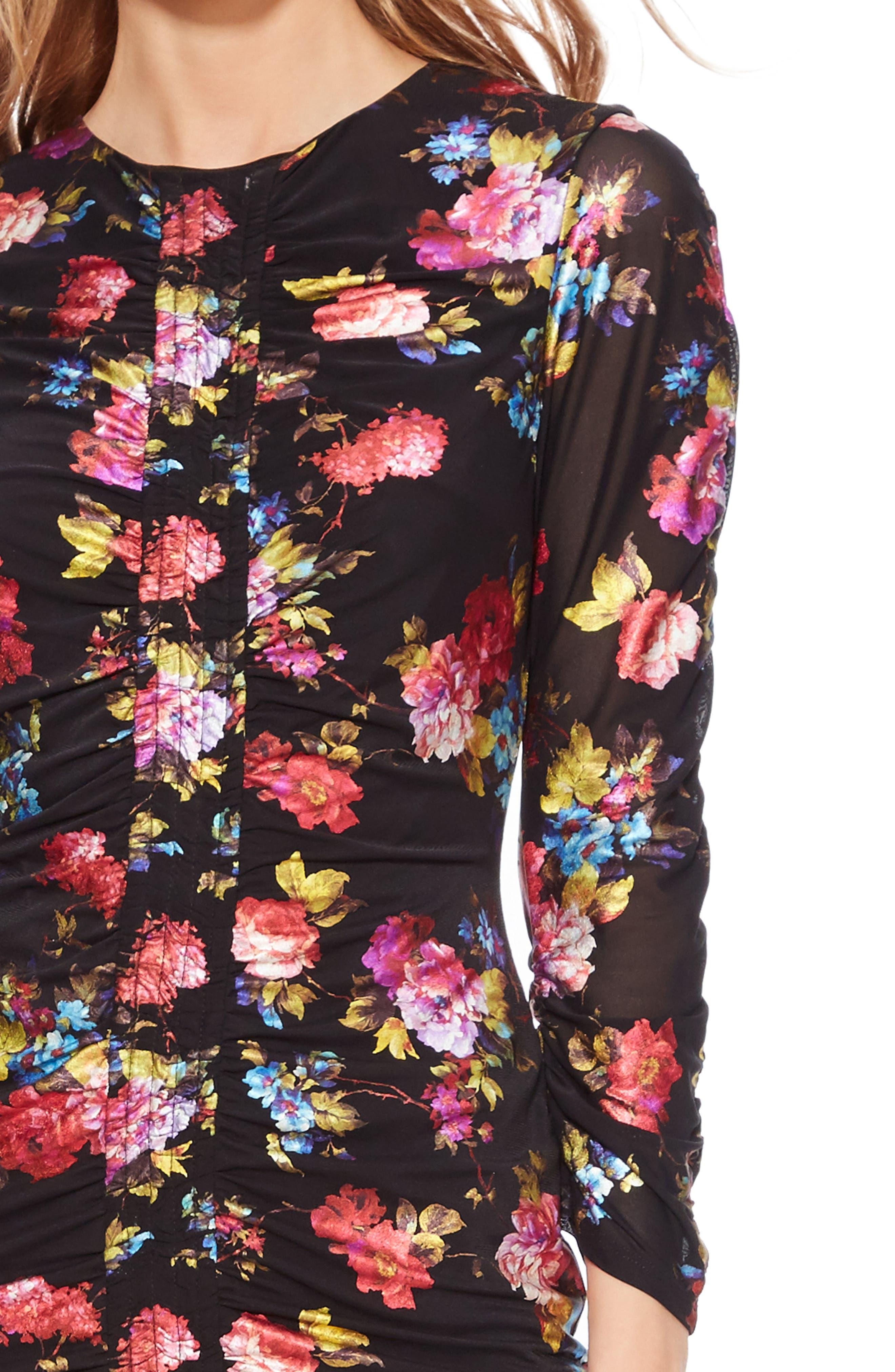 Adrienne Body-Con Dress,                             Alternate thumbnail 4, color,                             BLACK MULTI