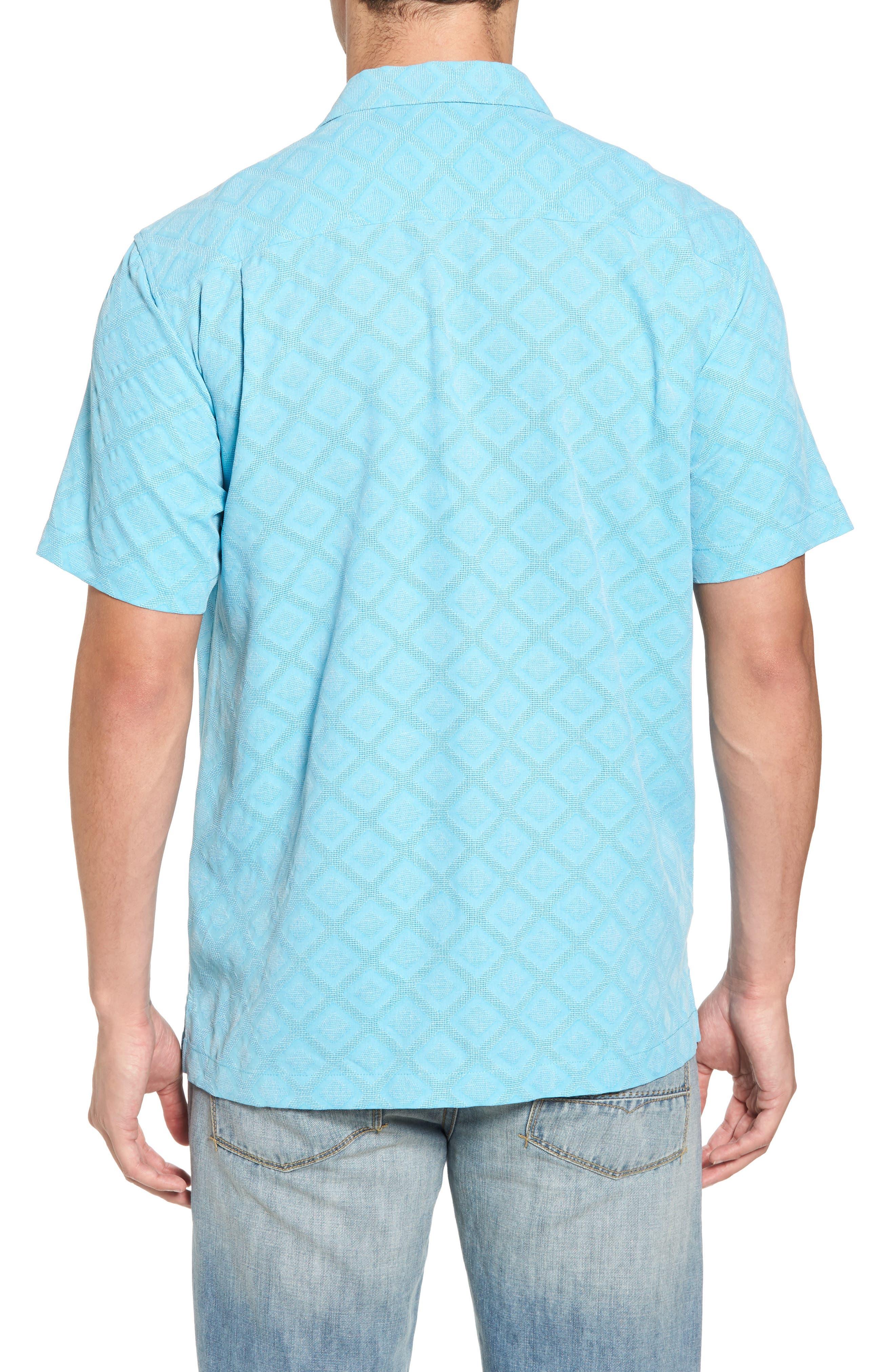 Solid Diamond Isle Silk Sport Shirt,                             Alternate thumbnail 4, color,