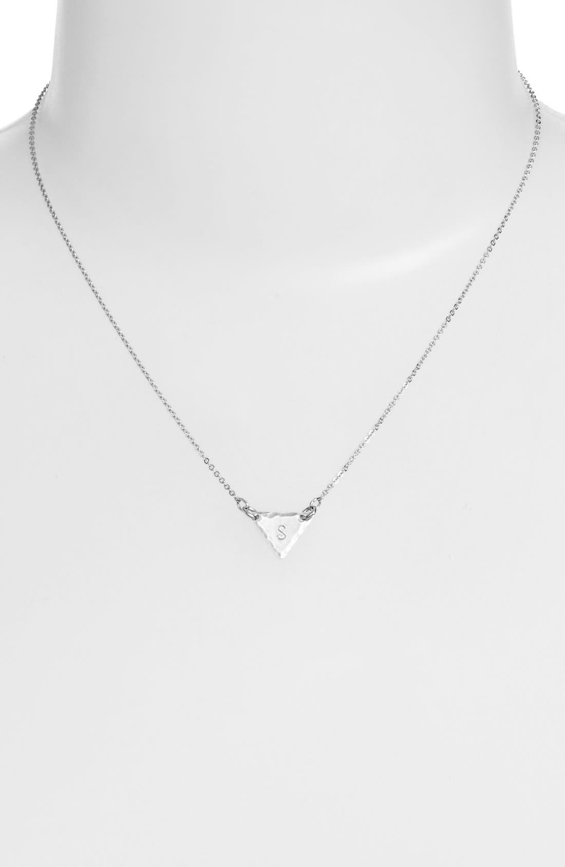 Sterling Silver Initial Mini Triangle Necklace,                             Alternate thumbnail 45, color,
