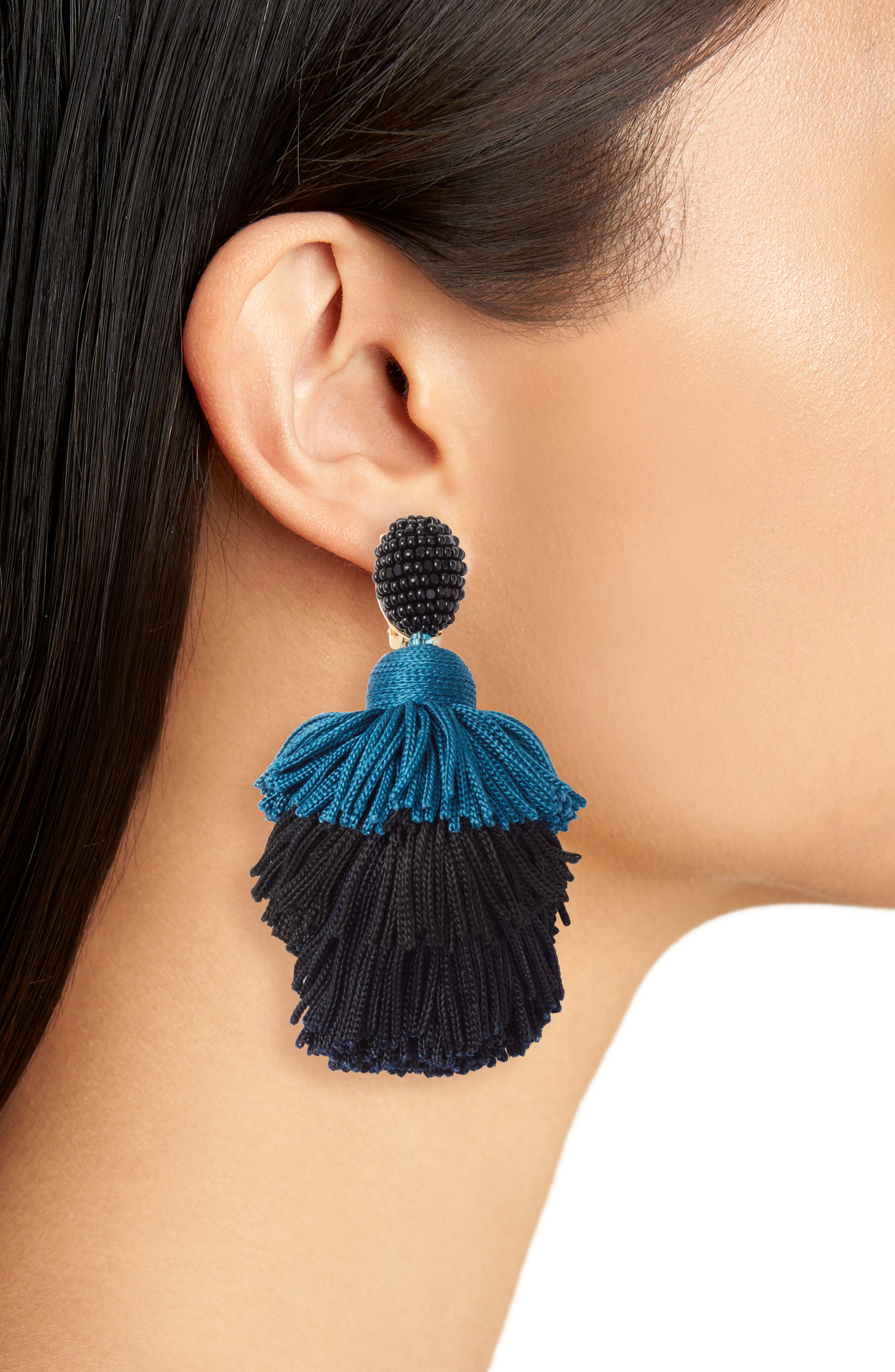 Tiered Tassel Drop Earrings,                             Alternate thumbnail 2, color,                             BLACK/ BLUE