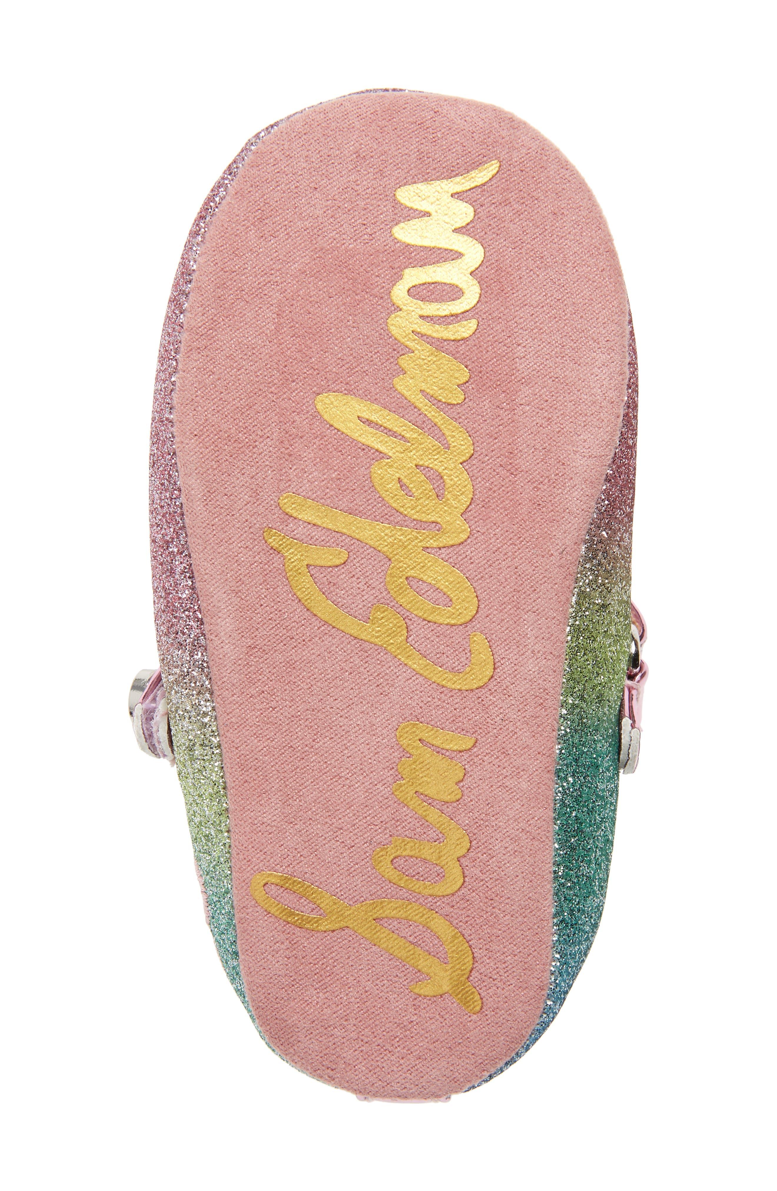 Glitter Rainbow Dancer Mary Jane Crib Shoe,                             Alternate thumbnail 6, color,                             650