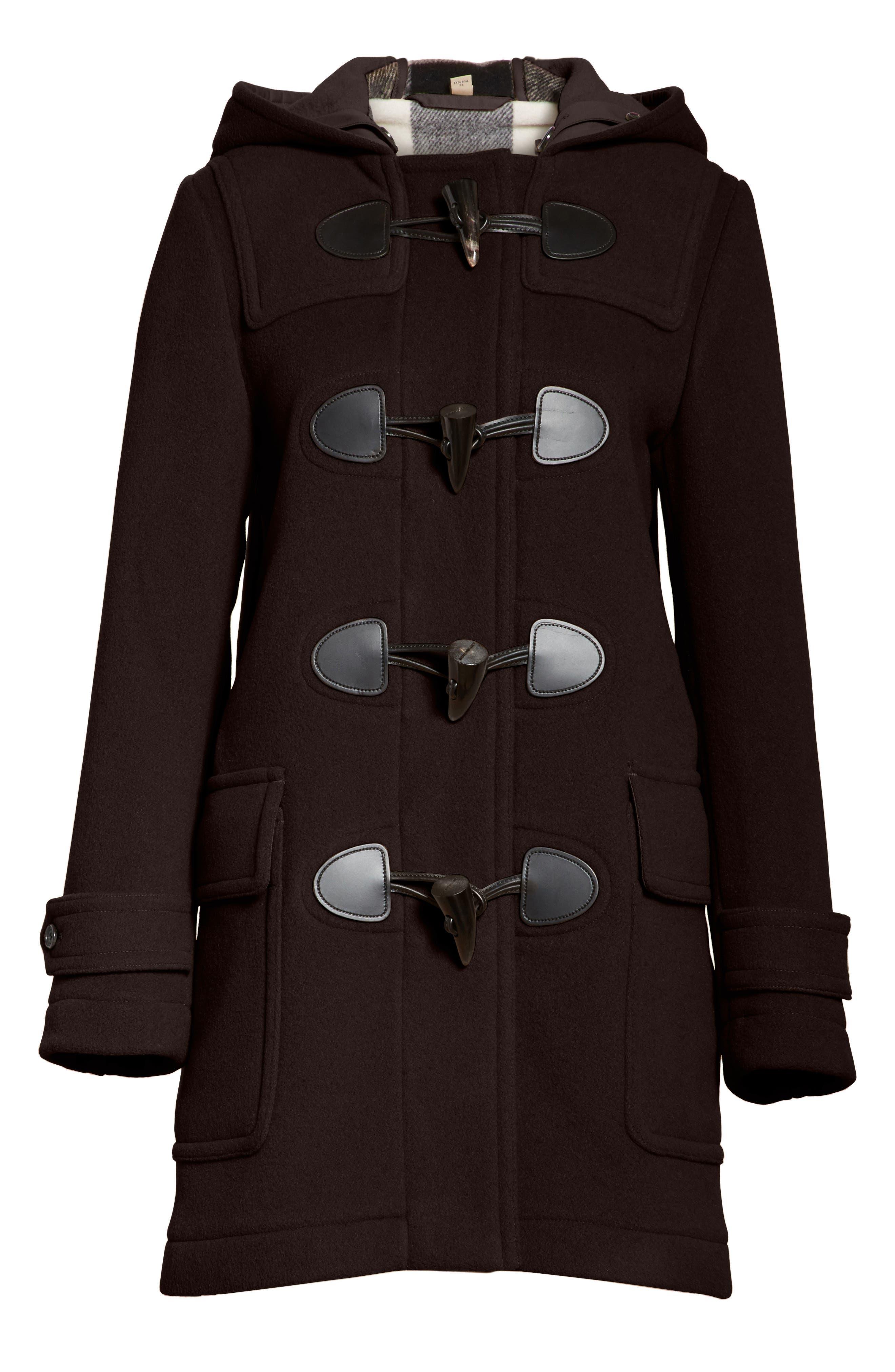 Mersey Wool Blend Duffle Coat,                             Alternate thumbnail 5, color,                             001