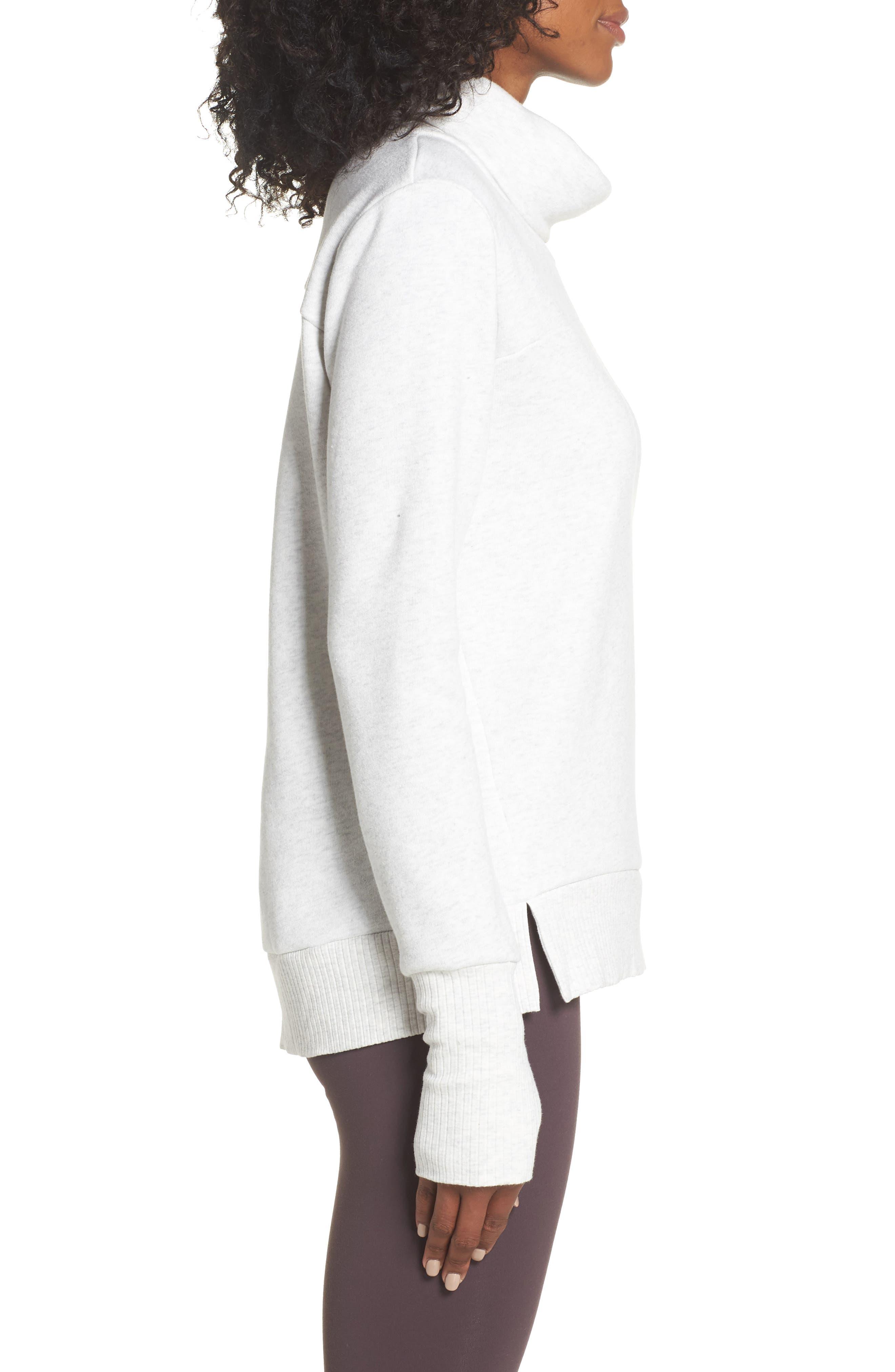 'Haze' Funnel Neck Sweatshirt,                             Alternate thumbnail 3, color,                             WHITE HEATHER
