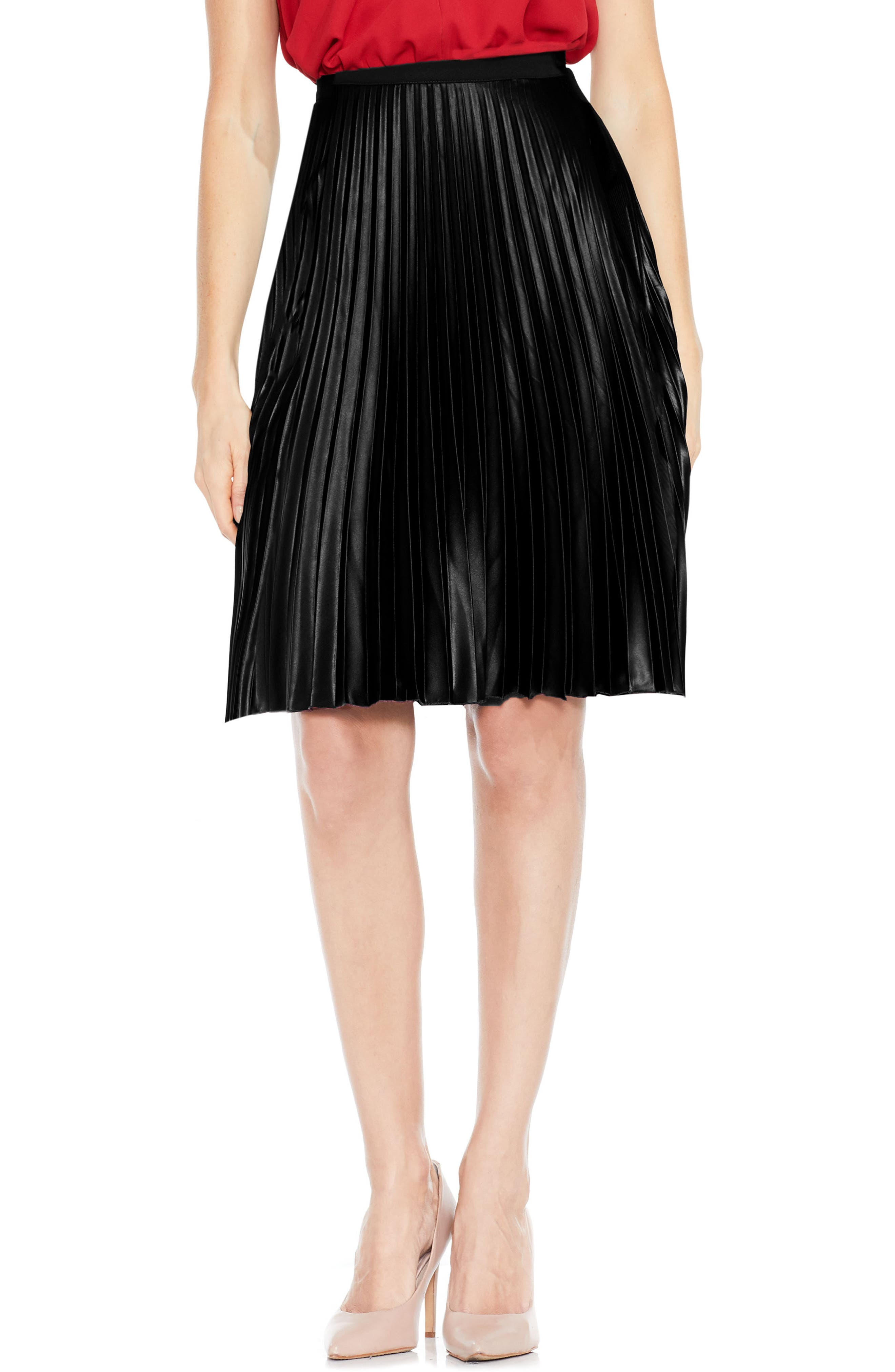 Lacquered Pleated Skirt,                             Main thumbnail 1, color,                             006