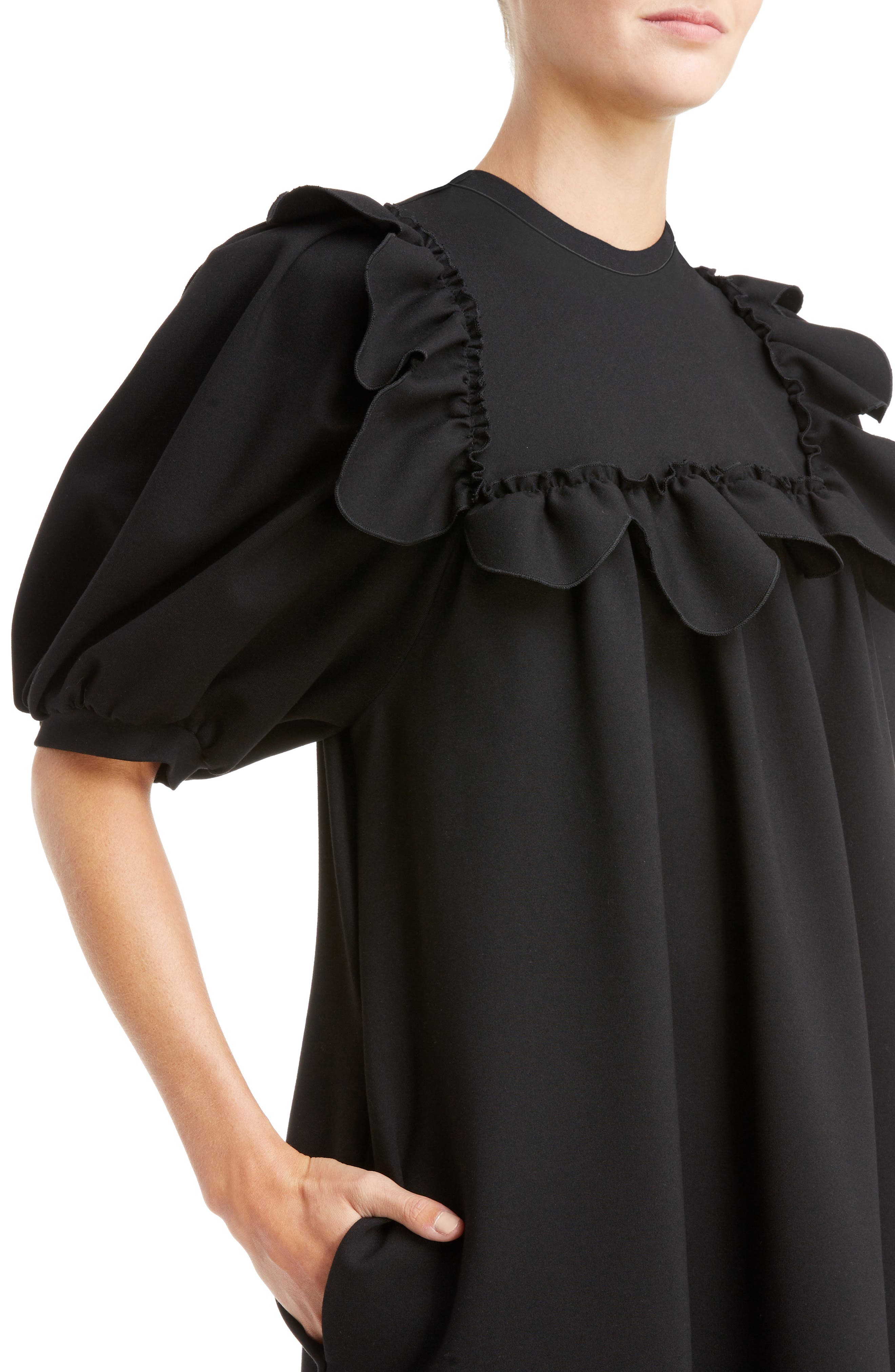 Ruffle Bib Dress,                             Alternate thumbnail 4, color,                             001