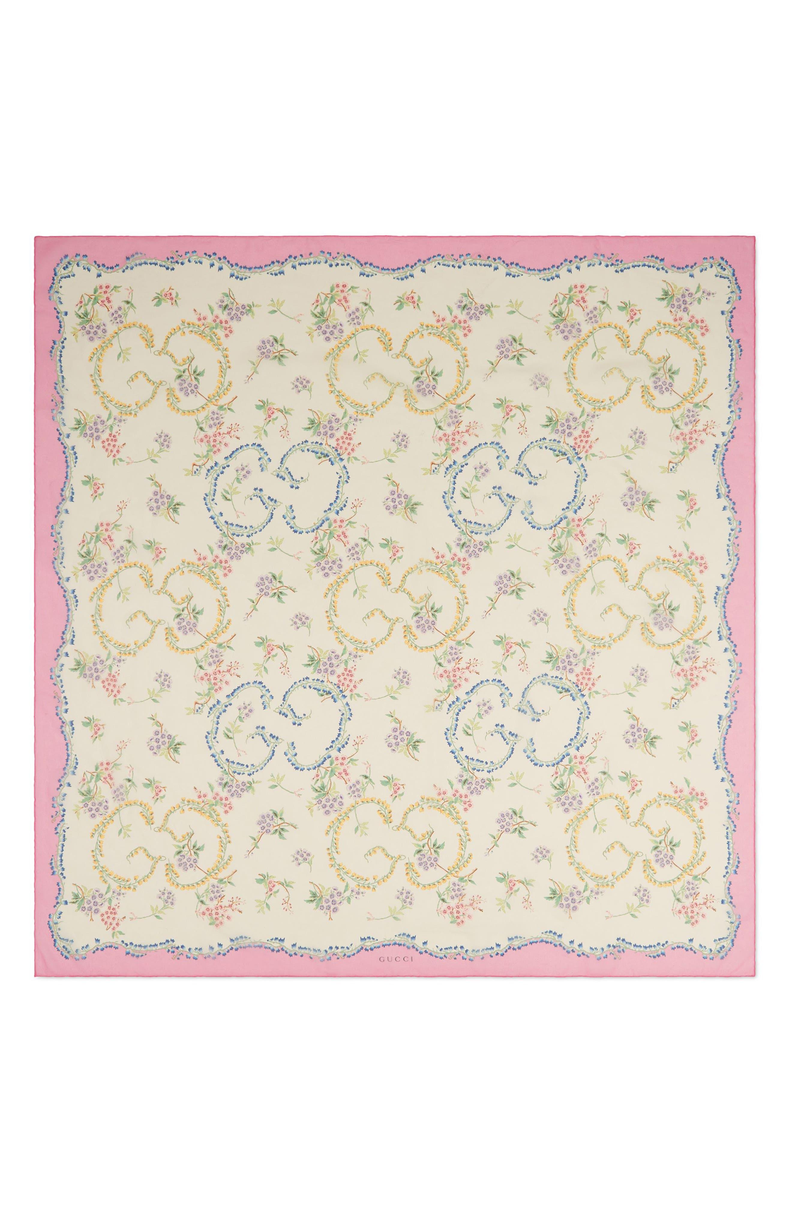 Provence Silk Shawl,                         Main,                         color, IVORY/ PINK