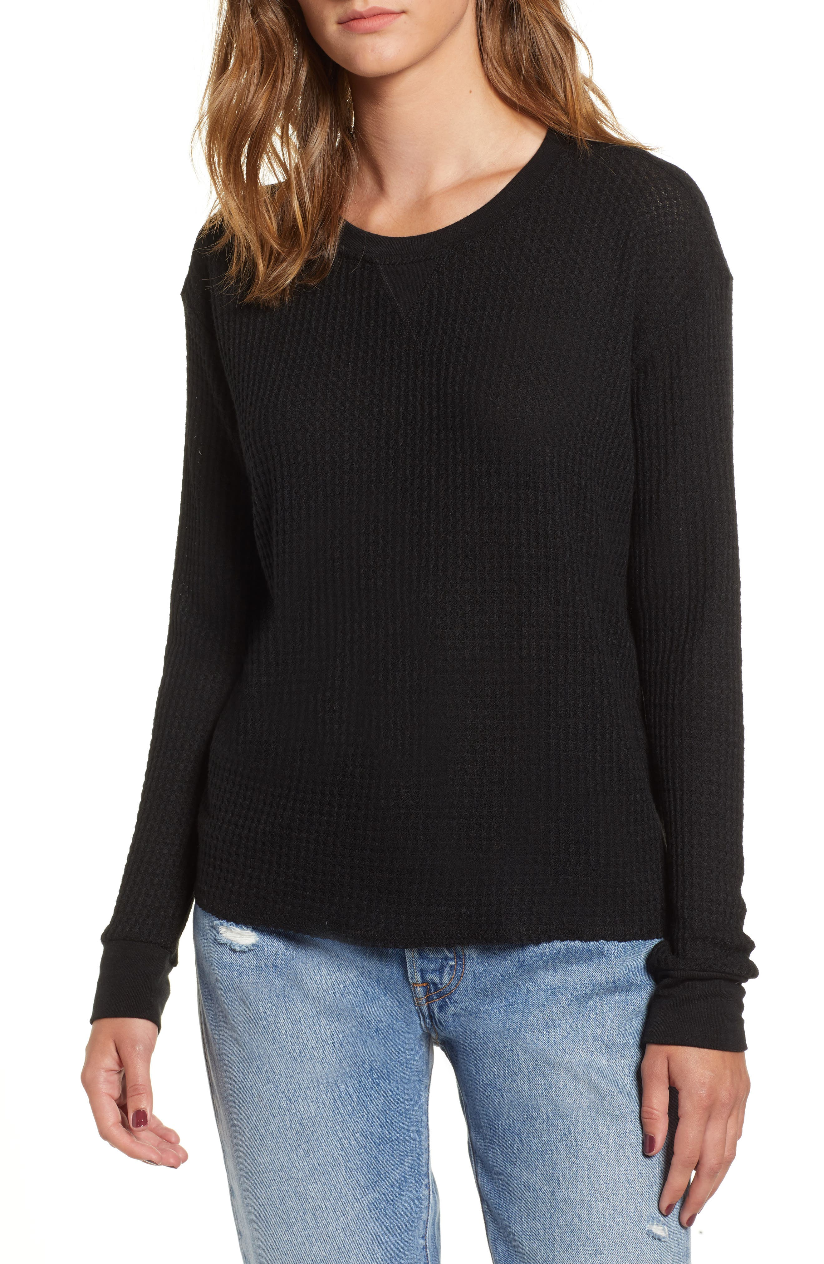Cited Waffle Knit Pullover Top,                             Main thumbnail 1, color,                             001