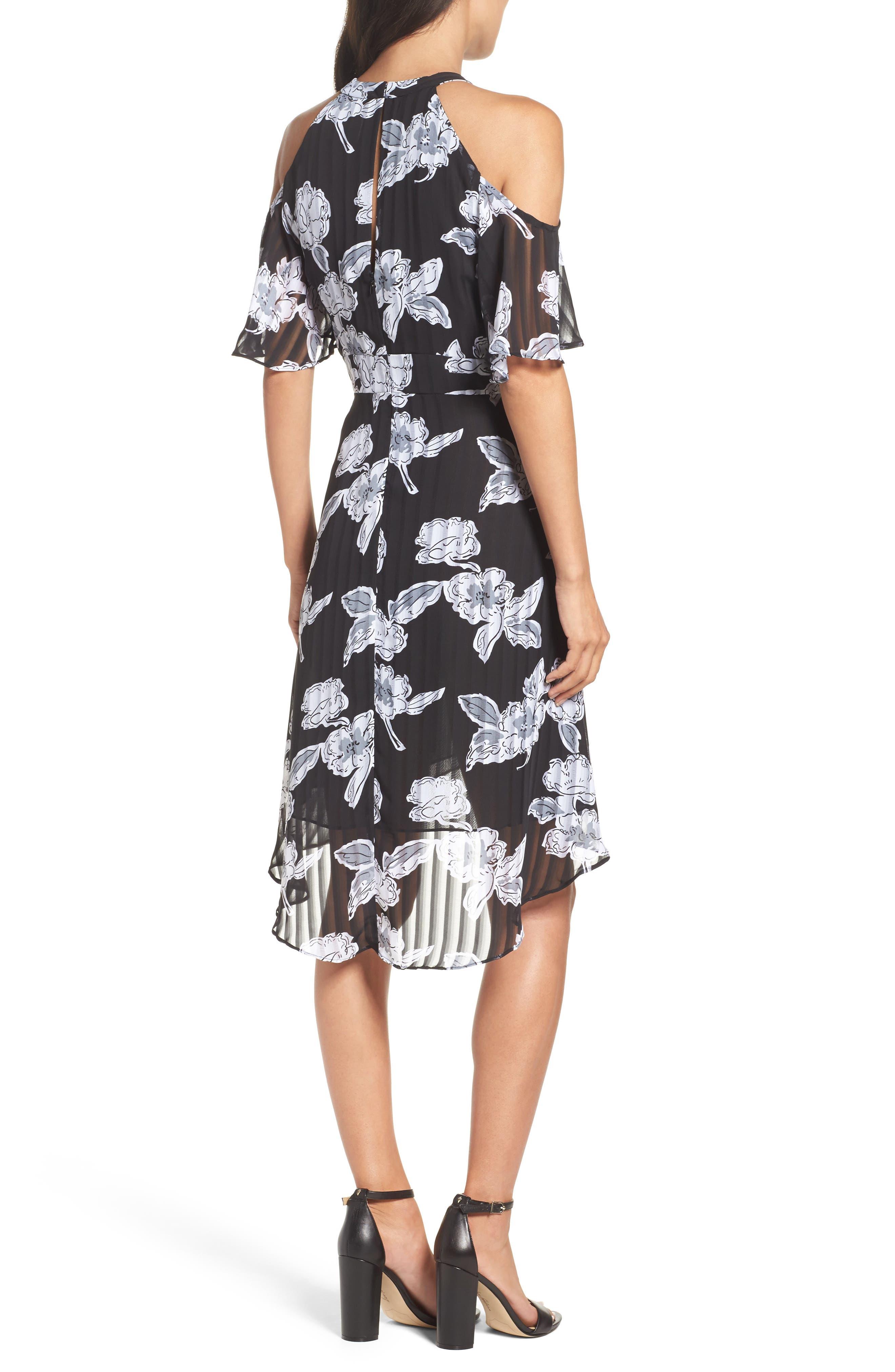 Print Cold Shoulder Dress,                             Alternate thumbnail 2, color,                             011