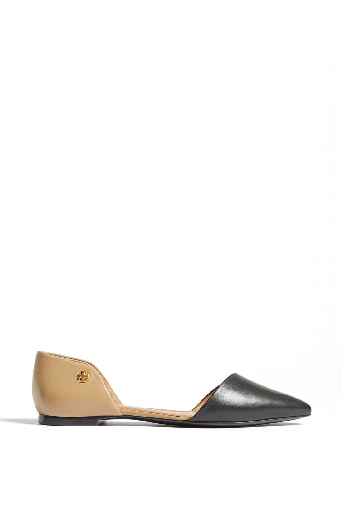 TORY BURCH,                             Leather Flat,                             Alternate thumbnail 3, color,                             008