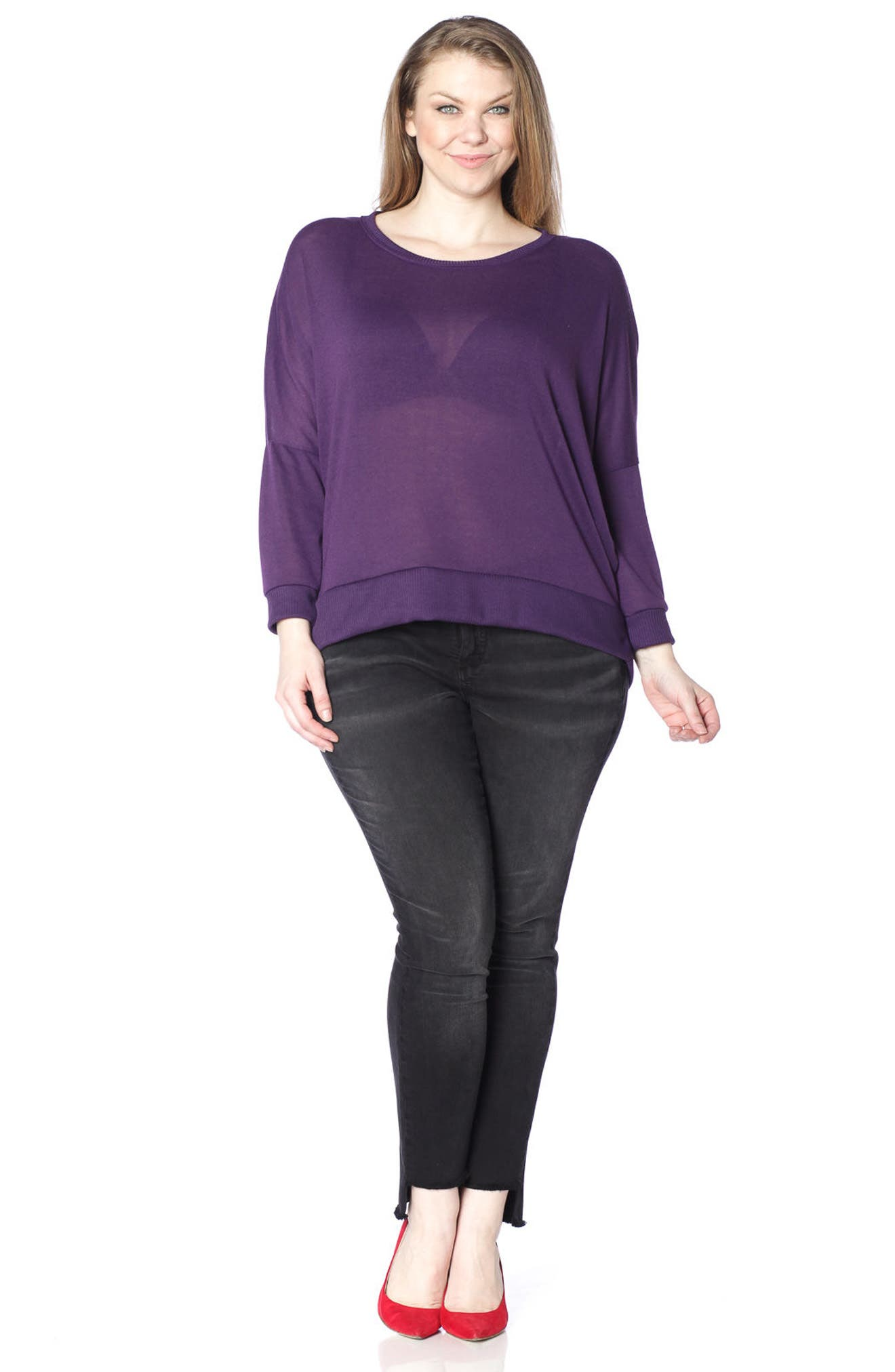 Dolman Sleeve Ribbed Pullover,                             Alternate thumbnail 3, color,                             PLUM