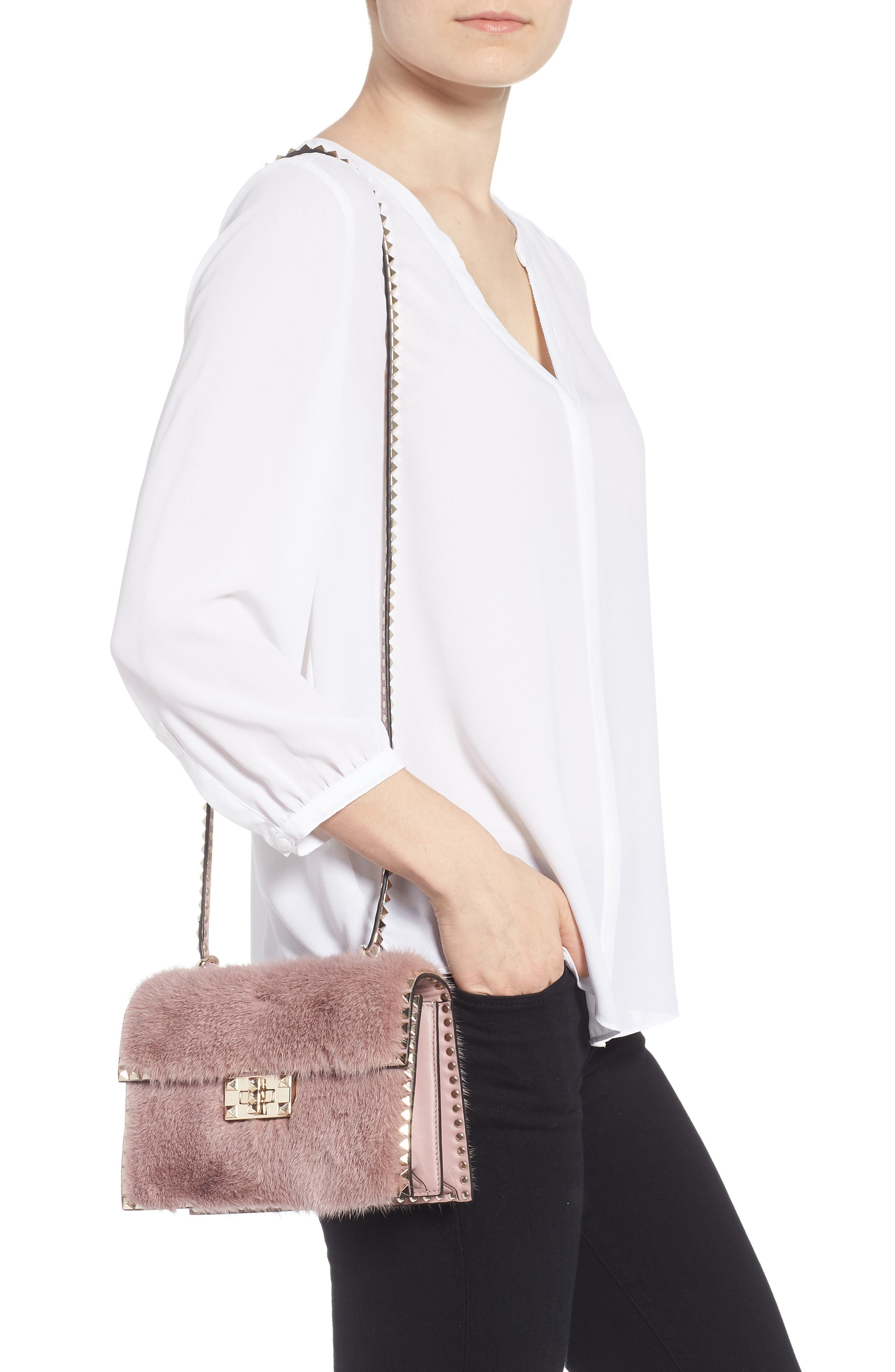 Small Rockstud Genuine Mink Fur Shoulder Bag,                             Alternate thumbnail 2, color,                             LIP