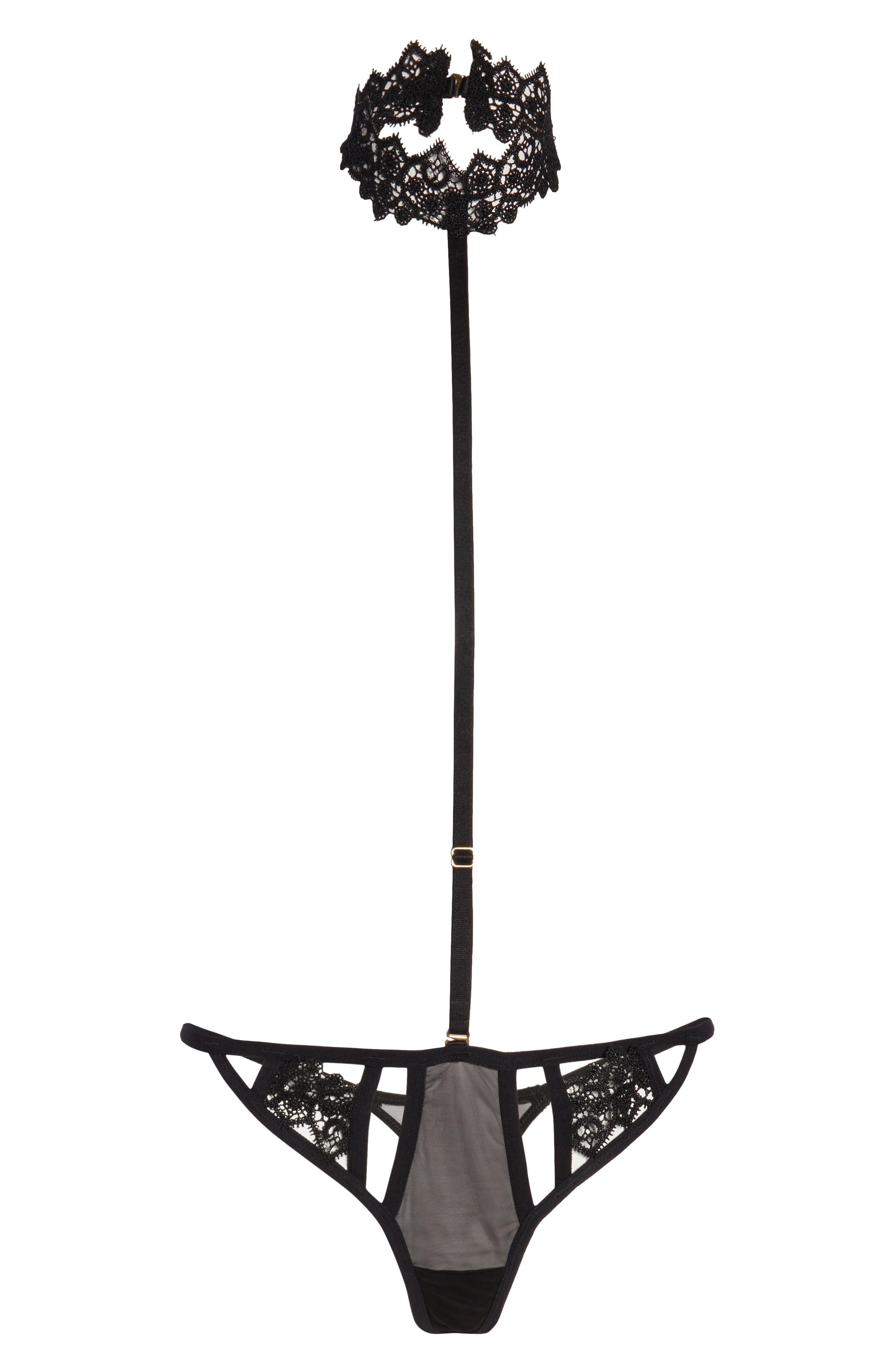 BLUEBELLA Carmen Choker Harness Thong in Black