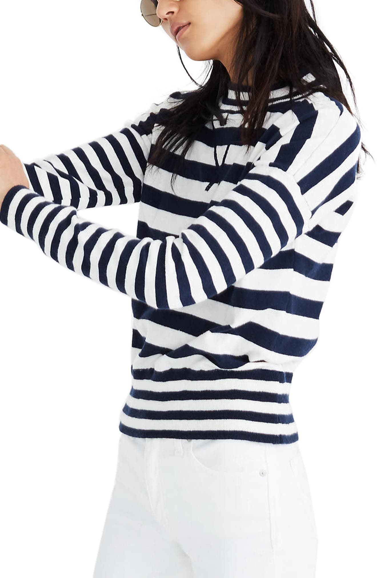 MADEWELL Stripe Mock Neck Sweater, Main, color, 400