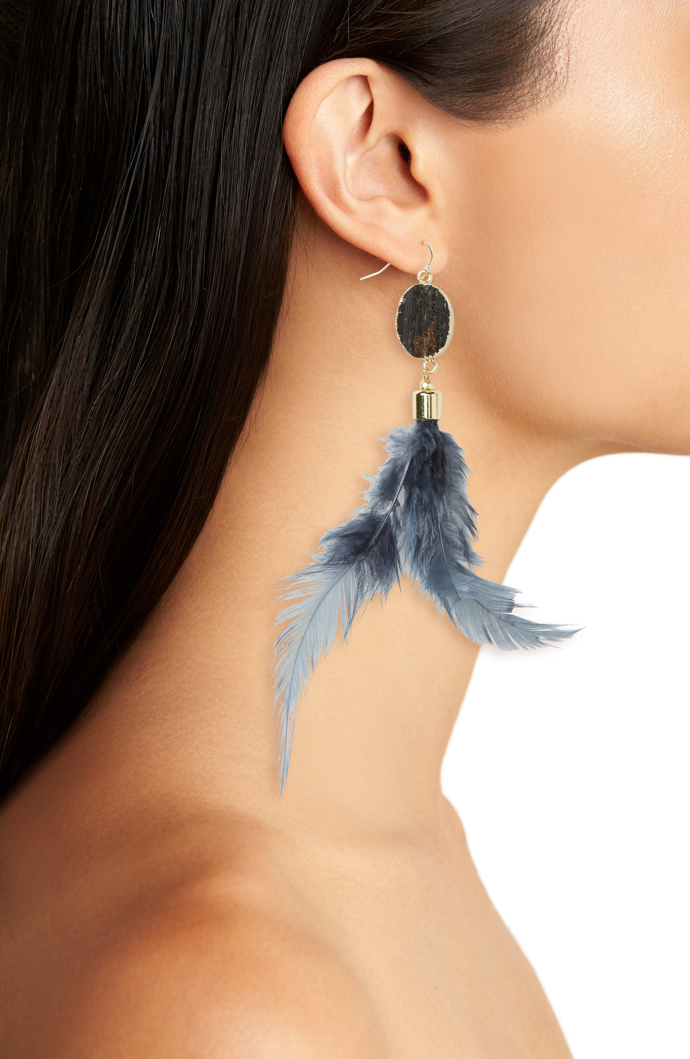 Stone & Feather Shoulder Duster Earrings,                             Alternate thumbnail 2, color,                             001