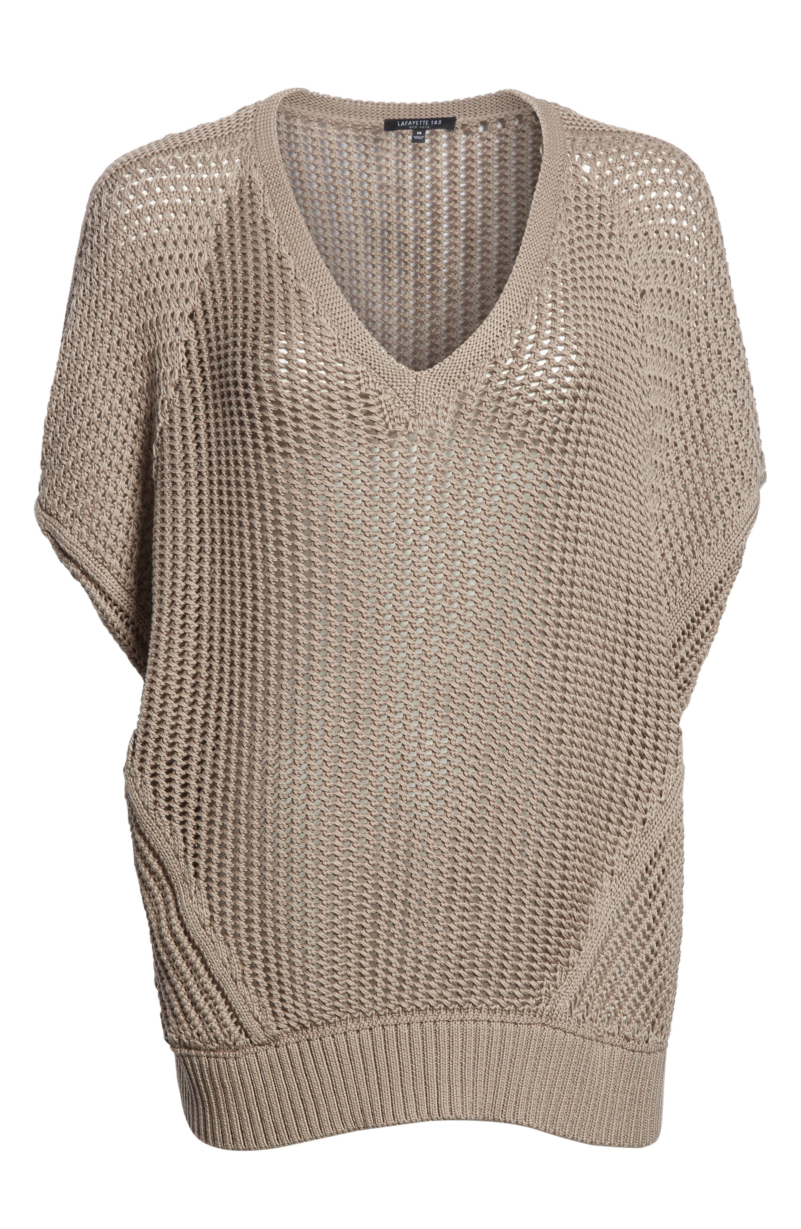 Mixed Stitch Cotton & Silk Sweater,                             Alternate thumbnail 6, color,                             026