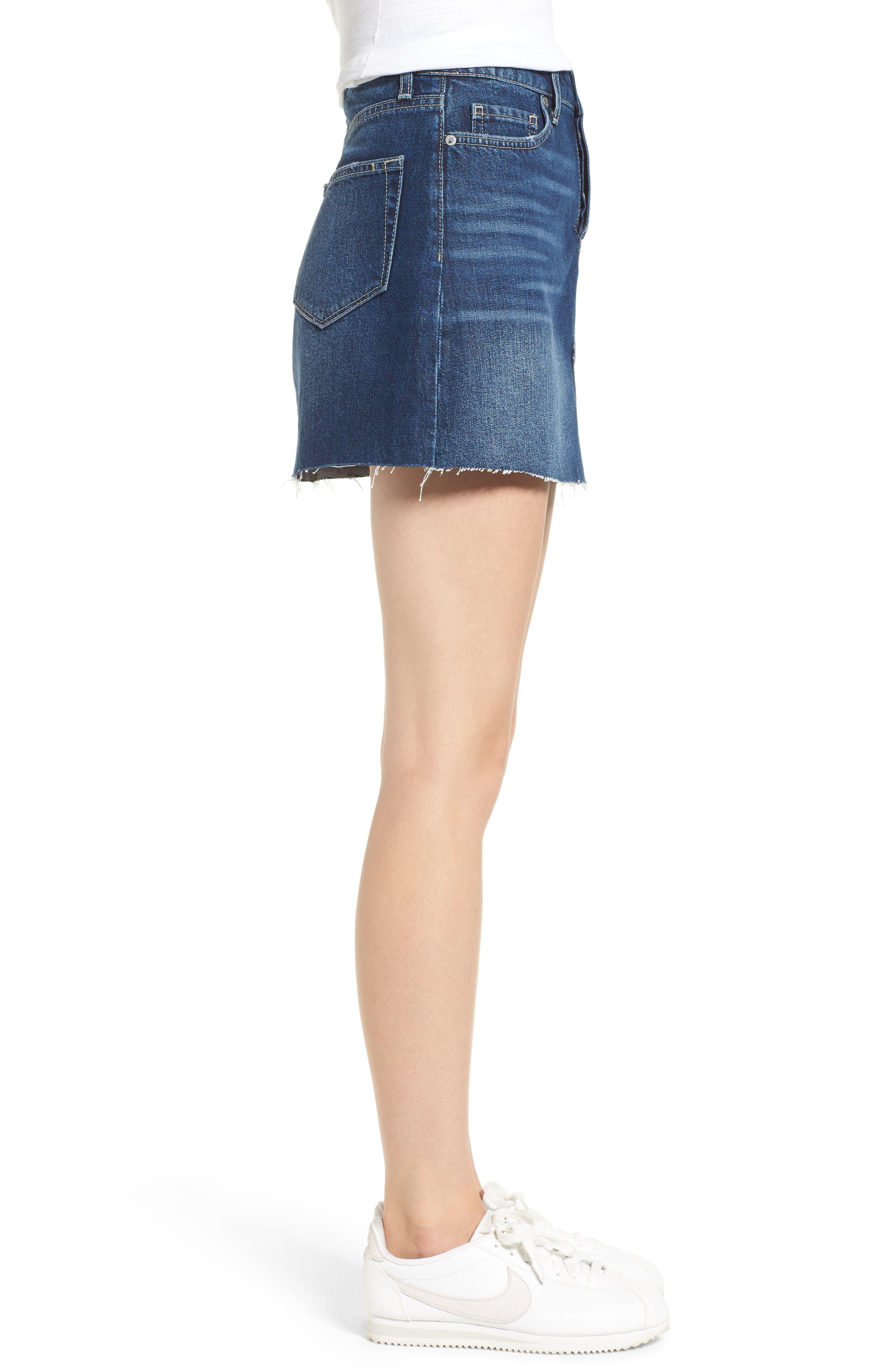 Aideen Denim Miniskirt,                             Alternate thumbnail 3, color,                             400