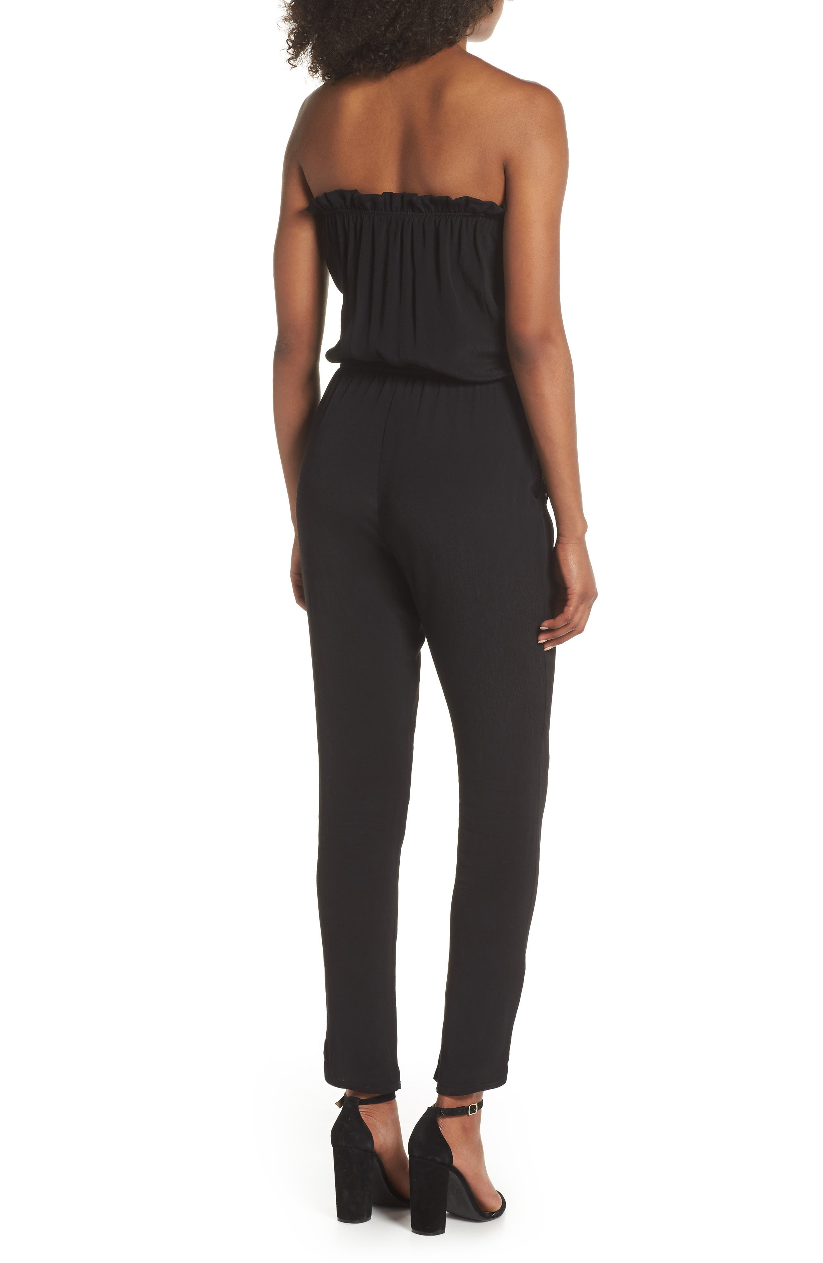 Strapless Jumpsuit,                             Alternate thumbnail 2, color,                             BLACK